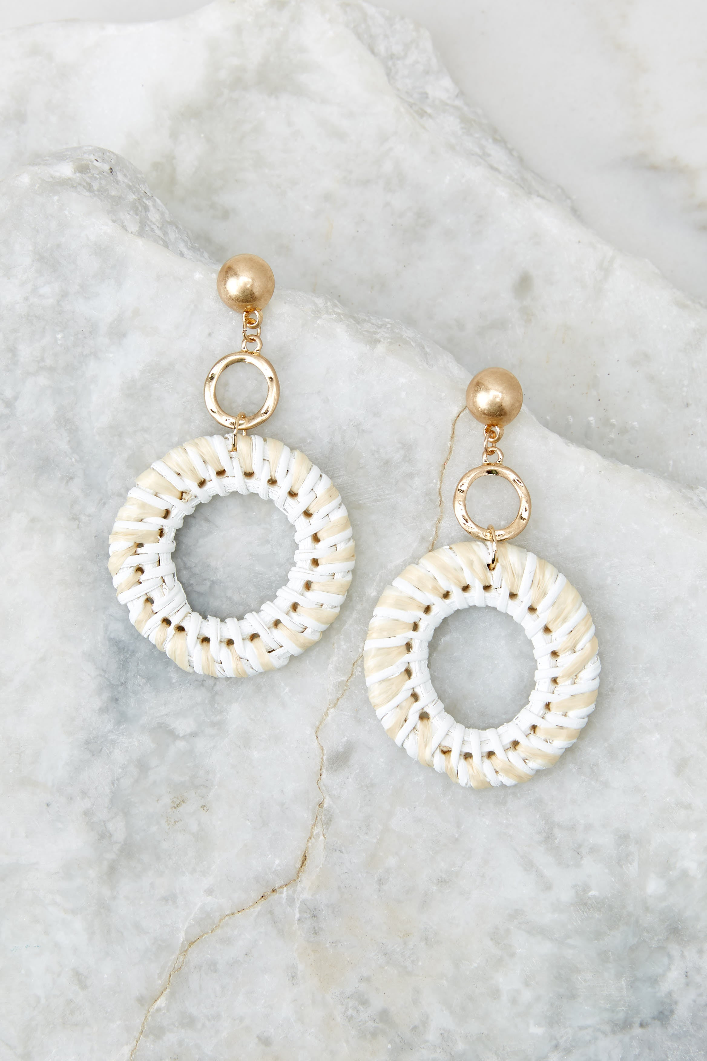 To Oblige You White Woven Earrings