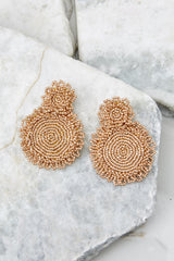 2 Do You Love Me Gold Beaded Earrings at reddress.com
