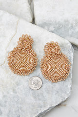 3 Do You Love Me Gold Beaded Earrings at reddressboutique.com