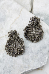 2 Do You Love Me Grey Beaded Earrings at reddressboutique.com