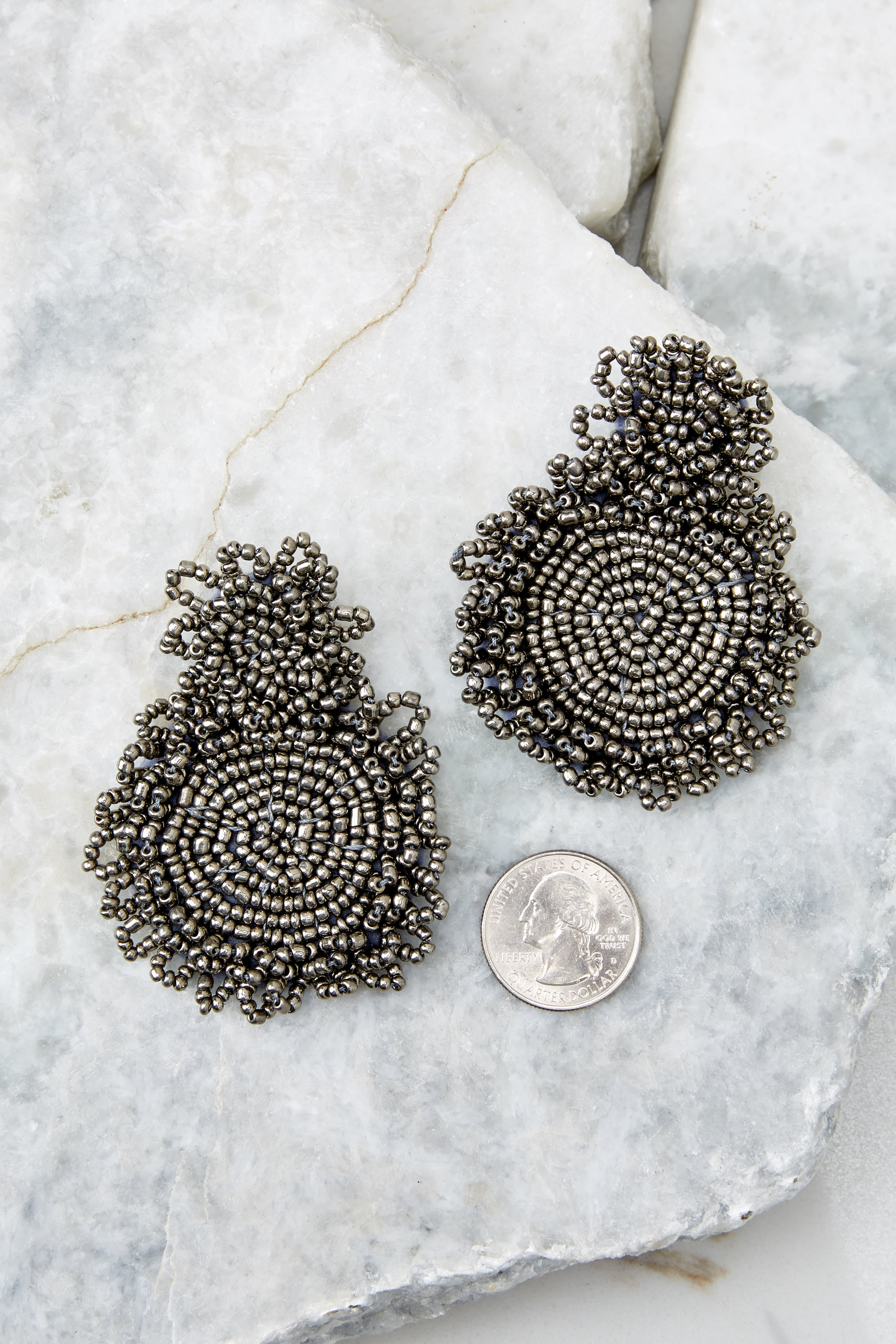 3 Do You Love Me Grey Beaded Earrings at reddressboutique.com