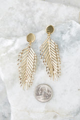 3 The Queen Palm Gold Leaf Earrings at reddressboutique.com