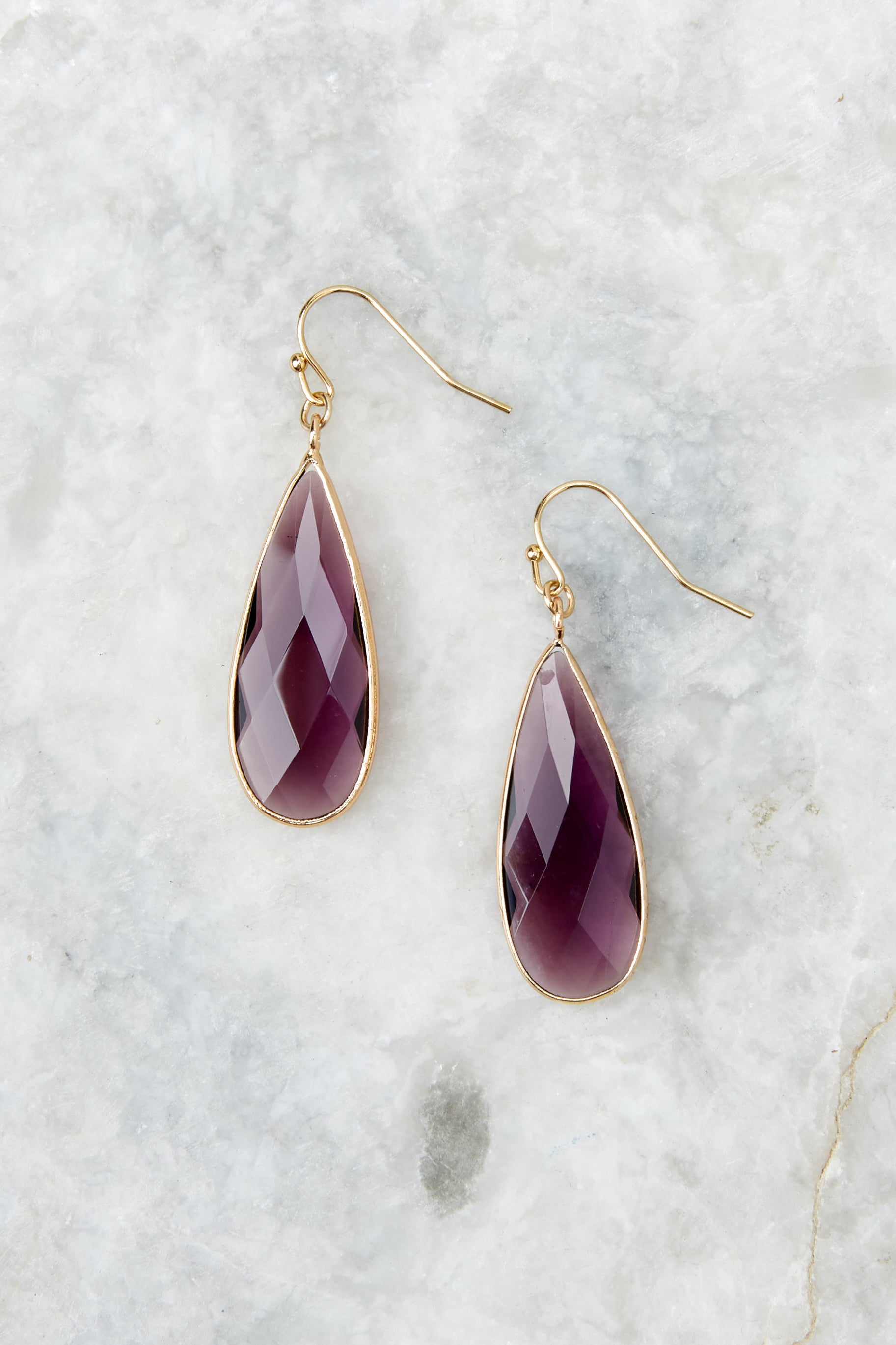 1 Without Warning Purple Earrings at reddressboutique.com