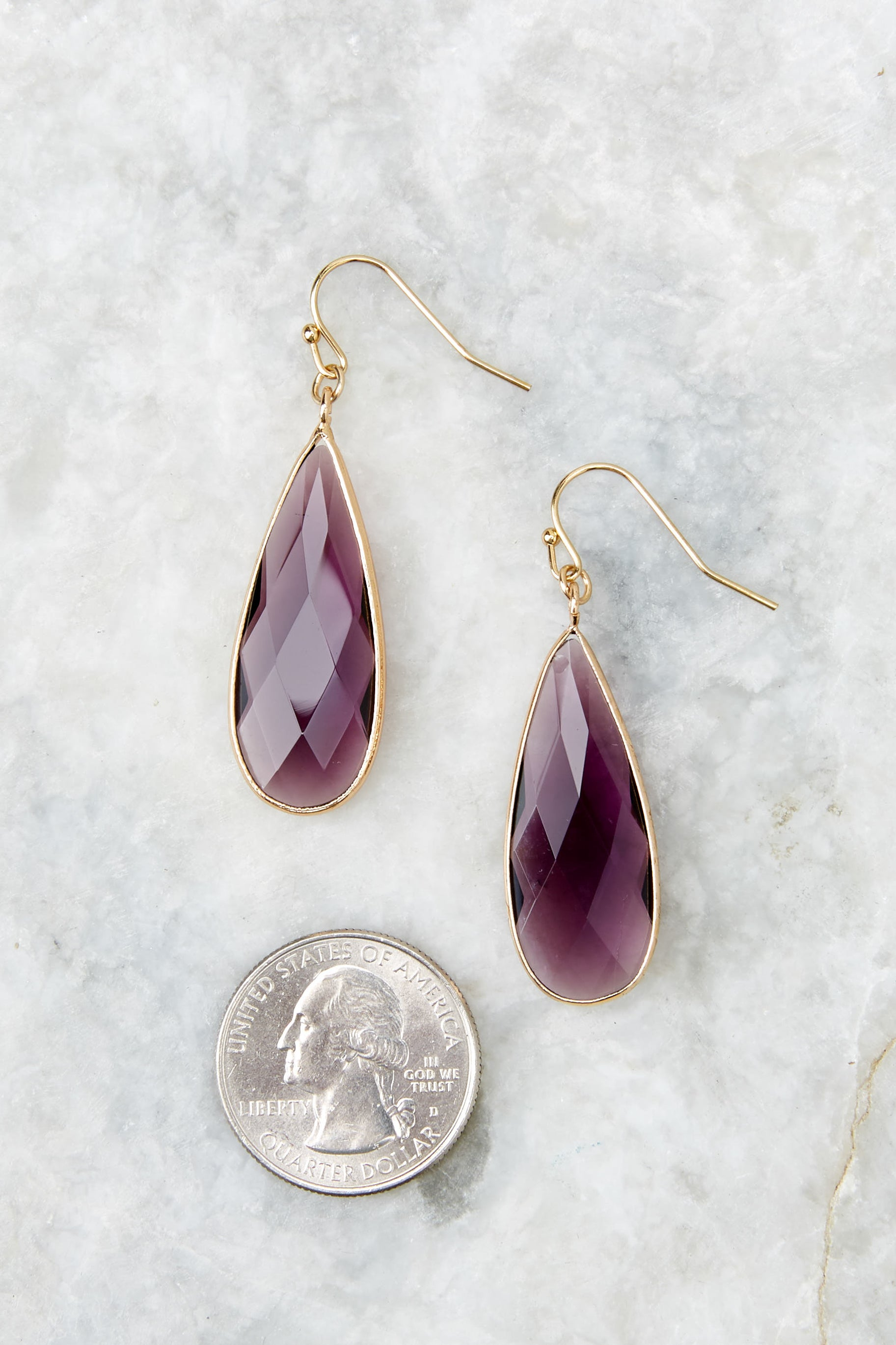 2 Without Warning Purple Earrings at reddressboutique.com