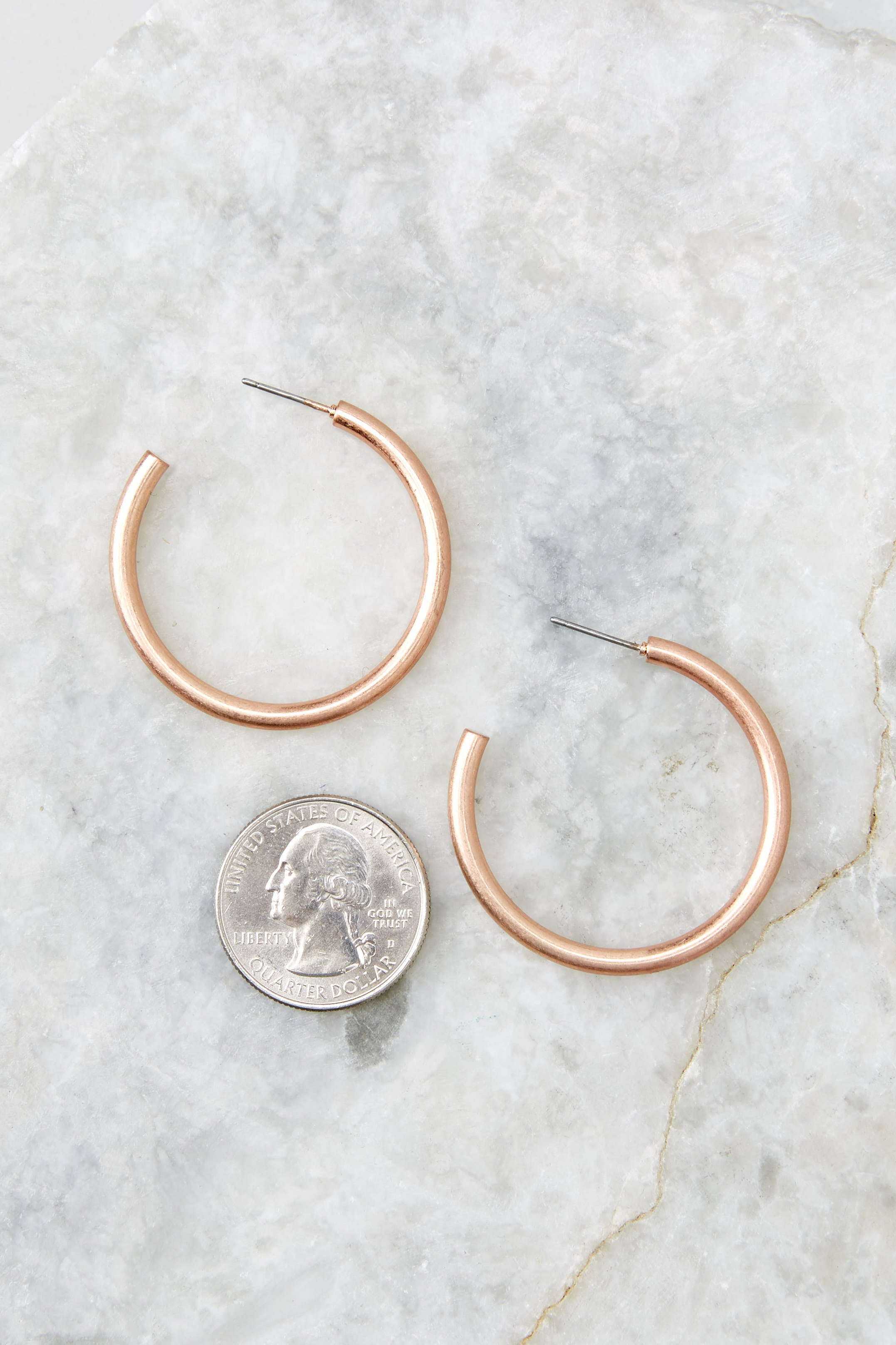 Stylish Blush Rose Gold Hoop Earrings