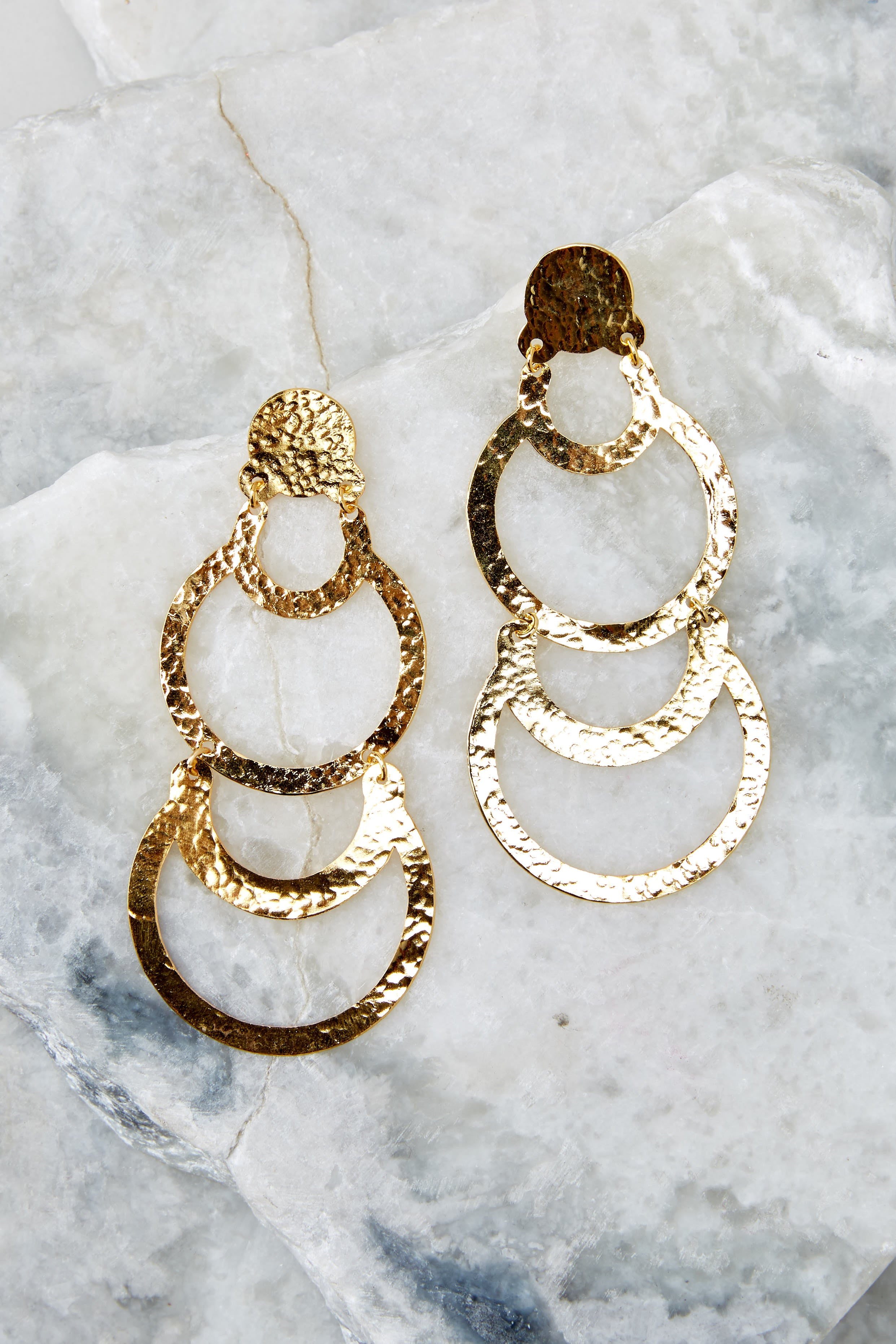 3 Cascading Beauty Gold Earrings at reddressboutique.com