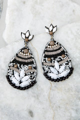 2 Fancy That Black And White Beaded Earrings at reddressboutique.com