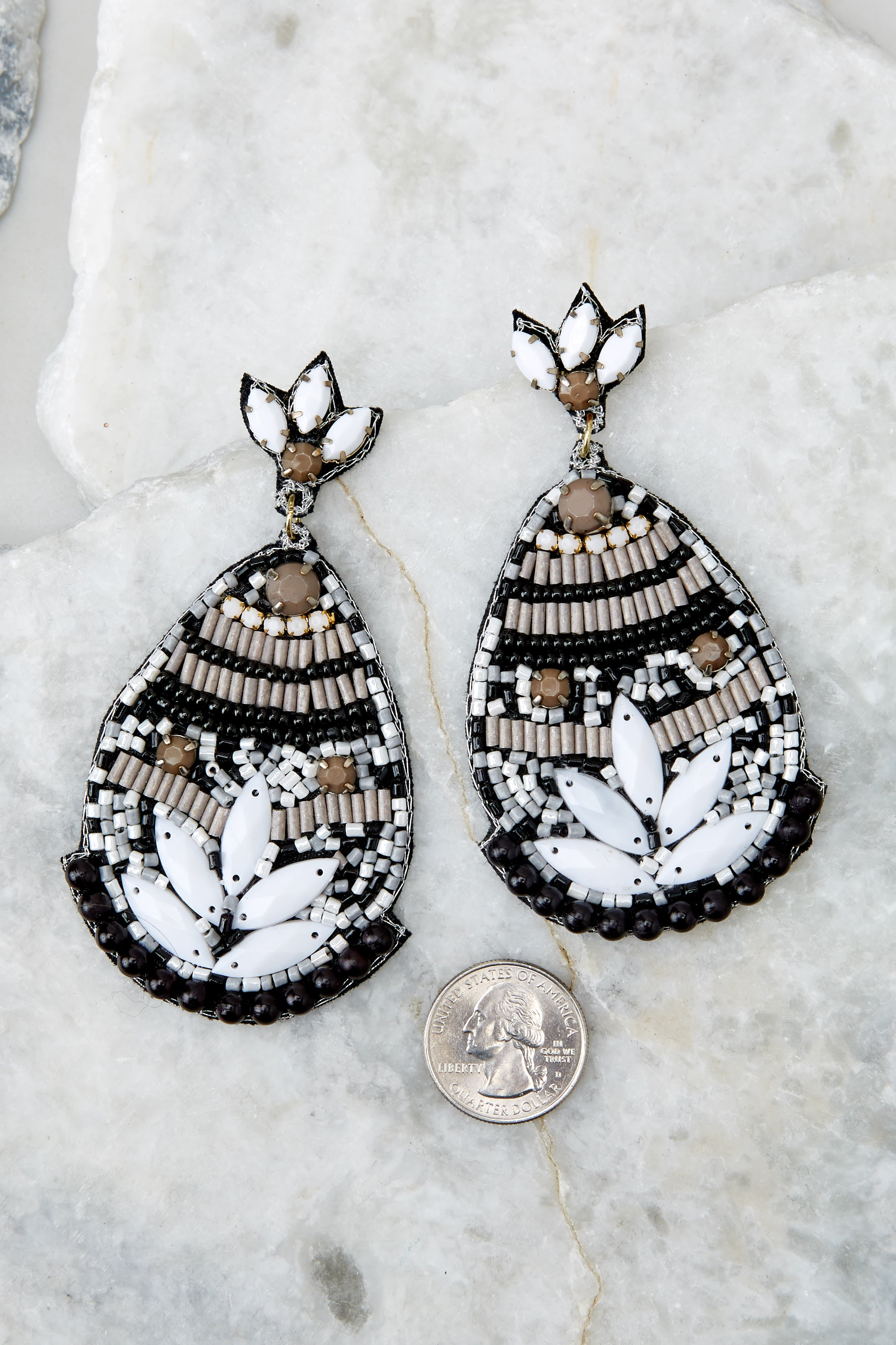 3 Fancy That Black And White Beaded Earrings at reddressboutique.com