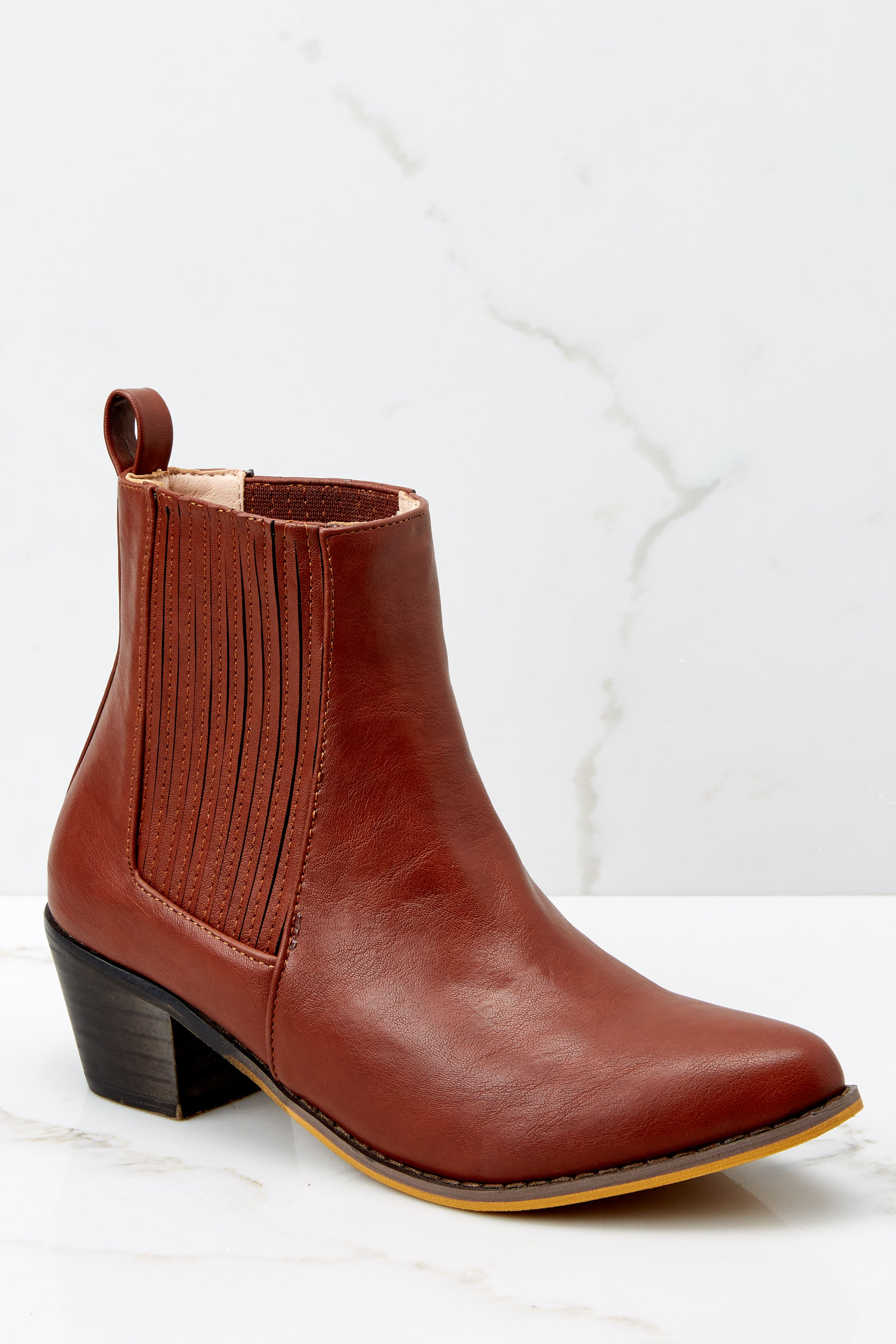 2 Kicking Around Cognac Ankle Boots at reddressboutique.com
