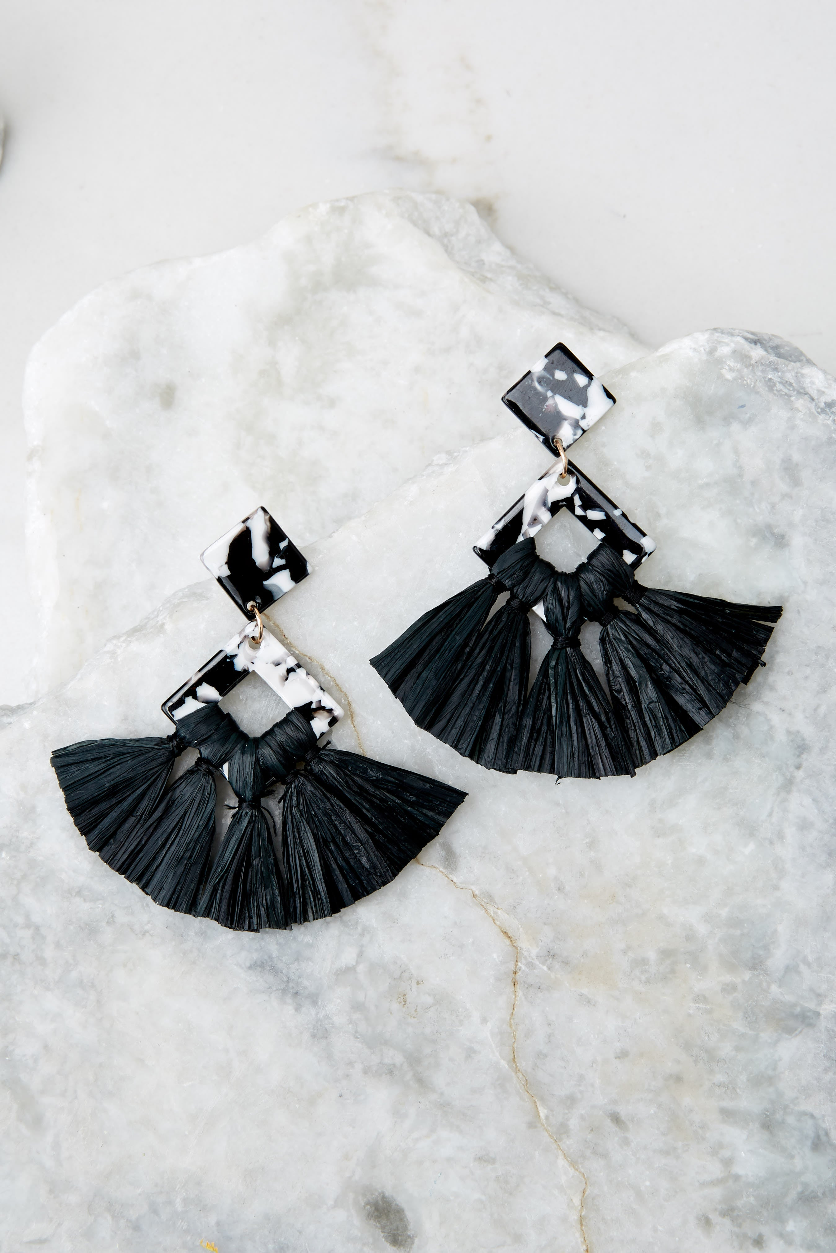 2 Theory Of Everything Black Earrings at reddressboutique.com