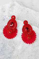 2 Cast Away Red Statement Earrings at reddressboutique.com