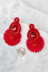 3 Cast Away Red Statement Earrings at reddressboutique.com