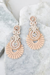 1 Go With It Beige Statement Earrings at reddress.com