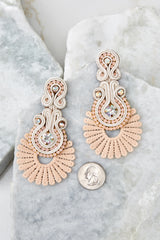 2 Go With It Beige Statement Earrings at reddress.com