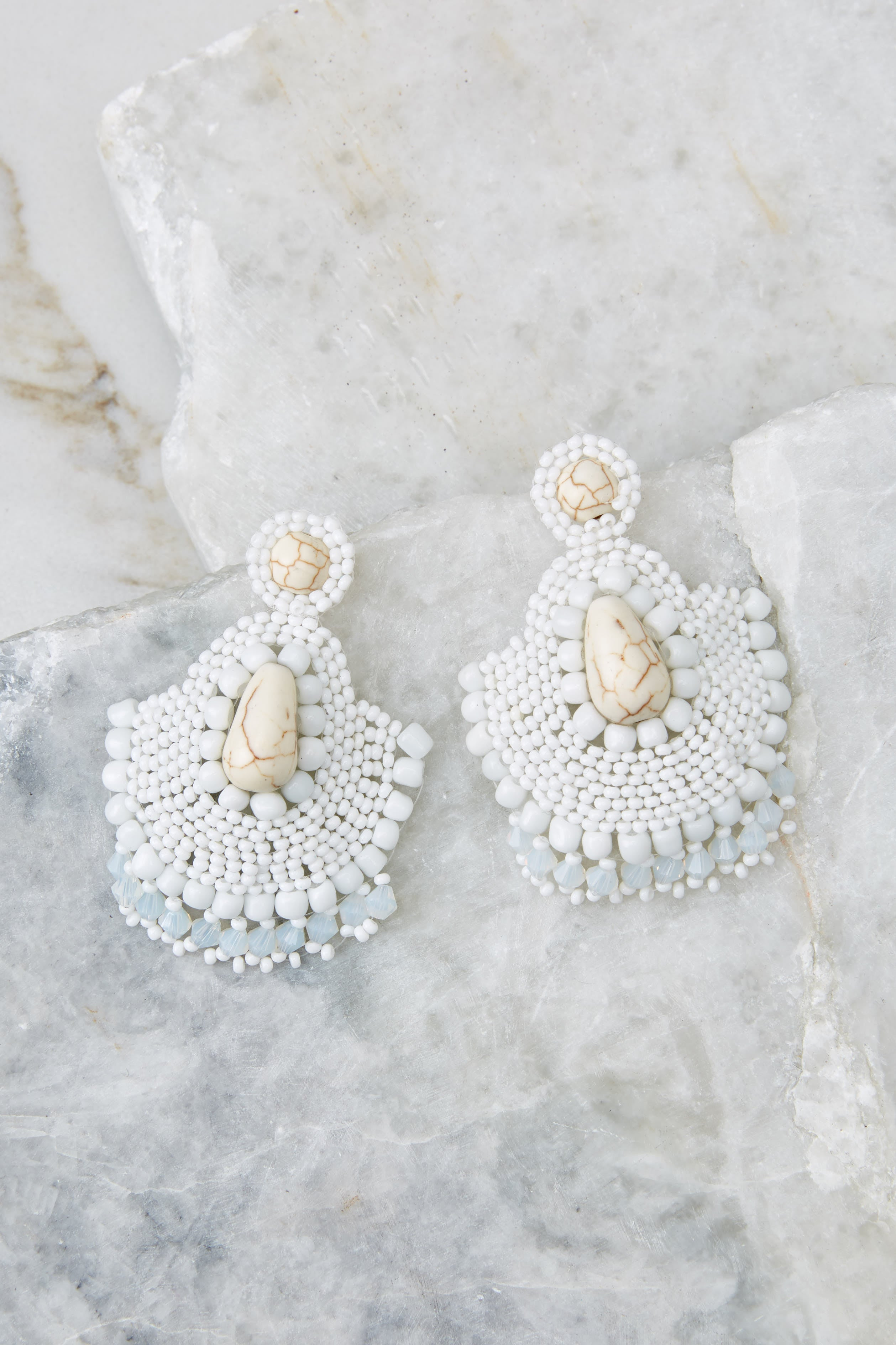 2 Thinking It Through White Earrings at reddressboutique.com