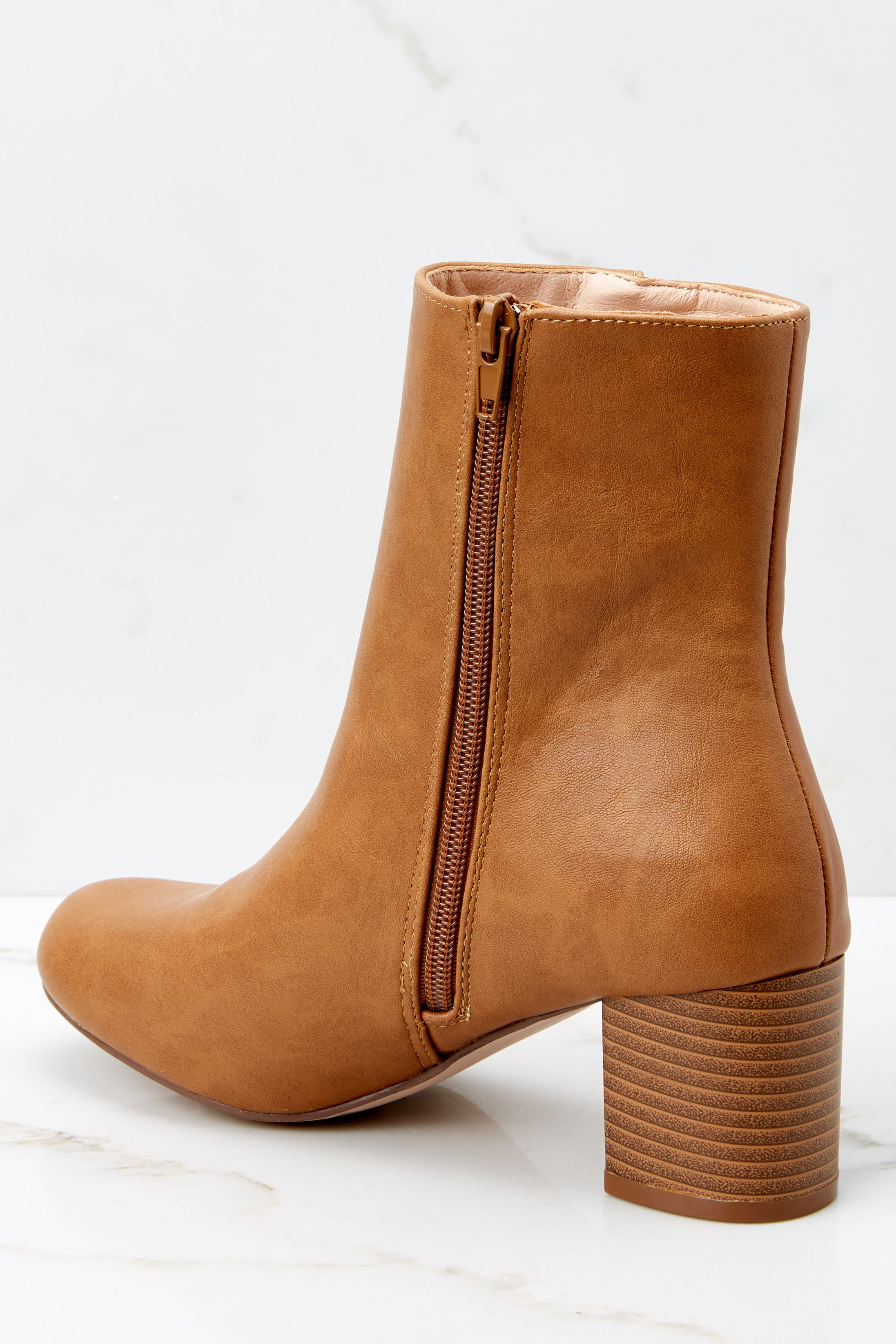 5 Narrow Margin Light Brown Ankle Boots at reddressboutique.com