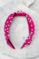 3 Small Talking Fuchsia Pearl Headband at reddressboutique.com