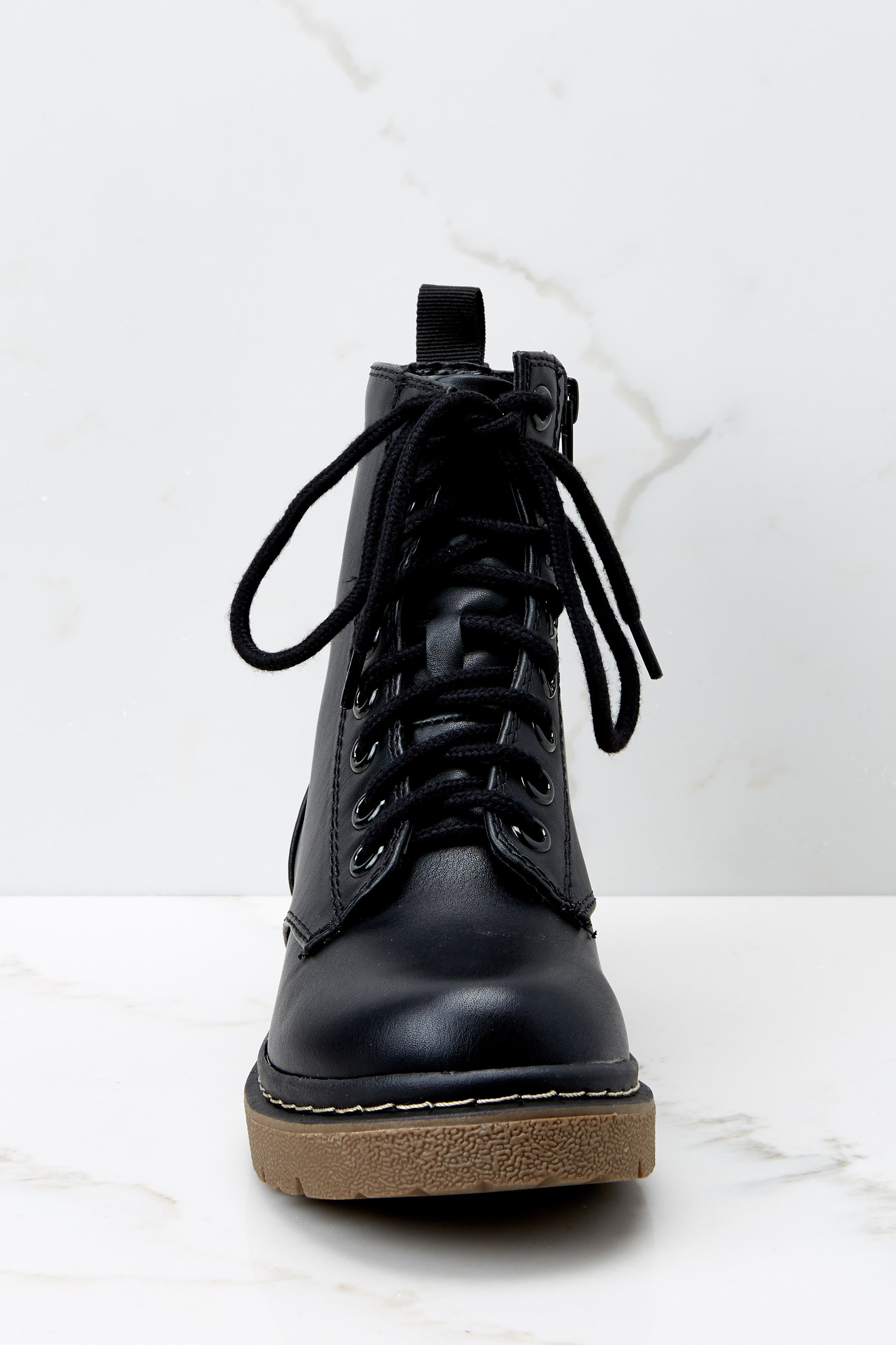 2 About A Girl Black Combat Boots at reddressboutique.com