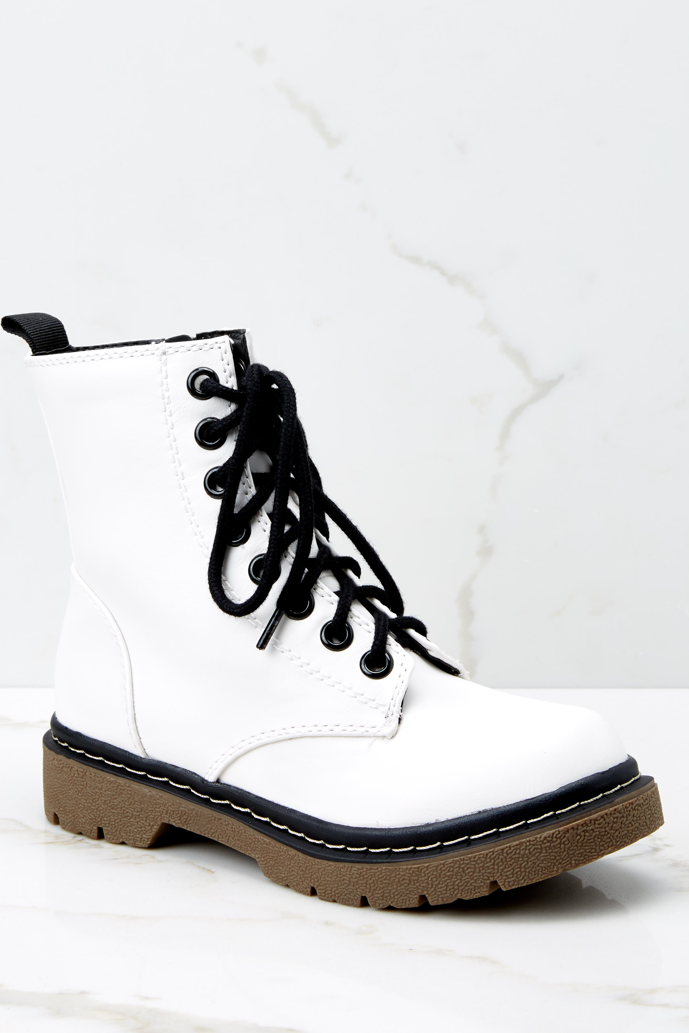 2 About A Girl White Combat Boots at reddressboutique.com
