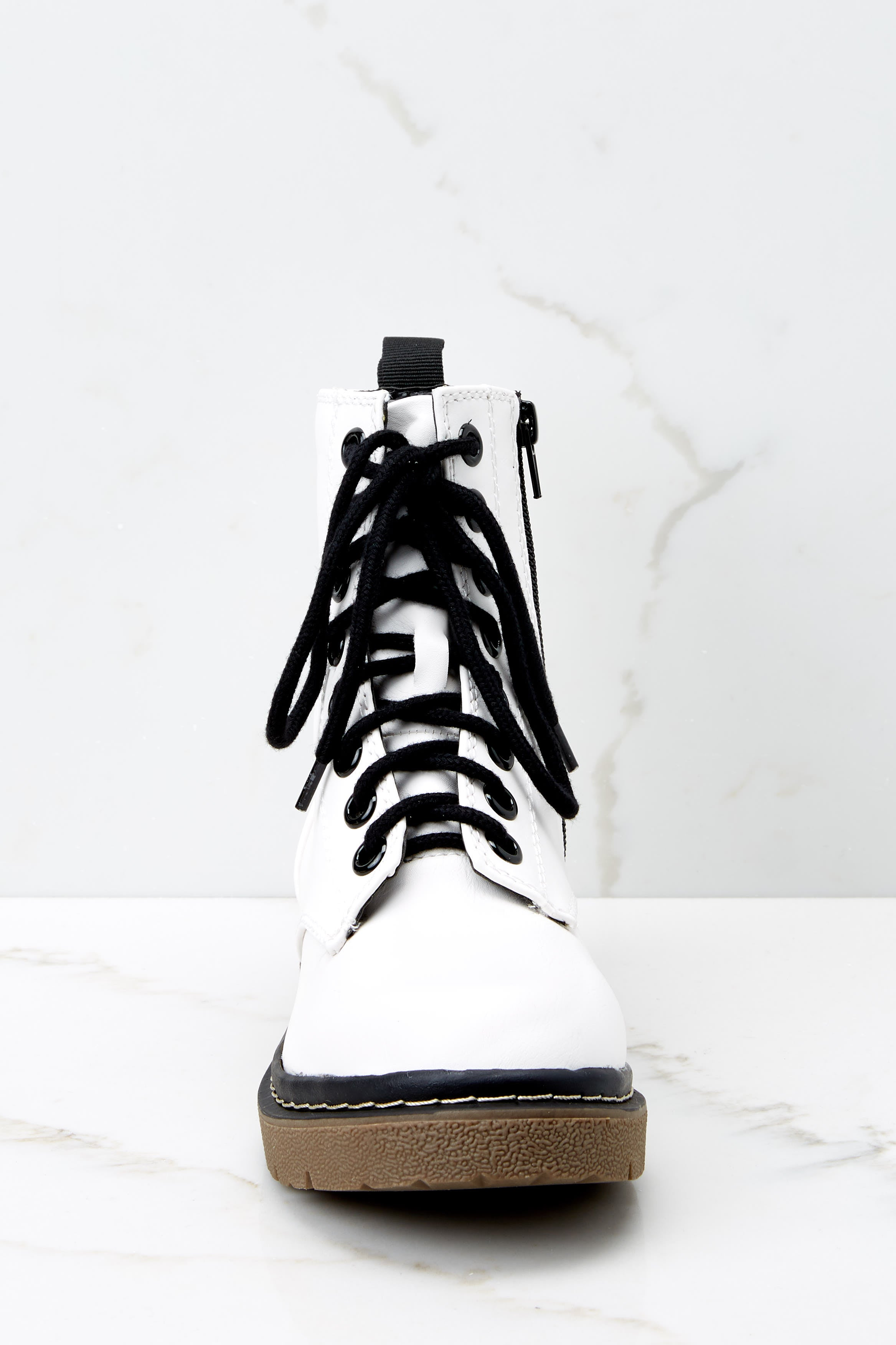 3 About A Girl White Combat Boots at reddressboutique.com