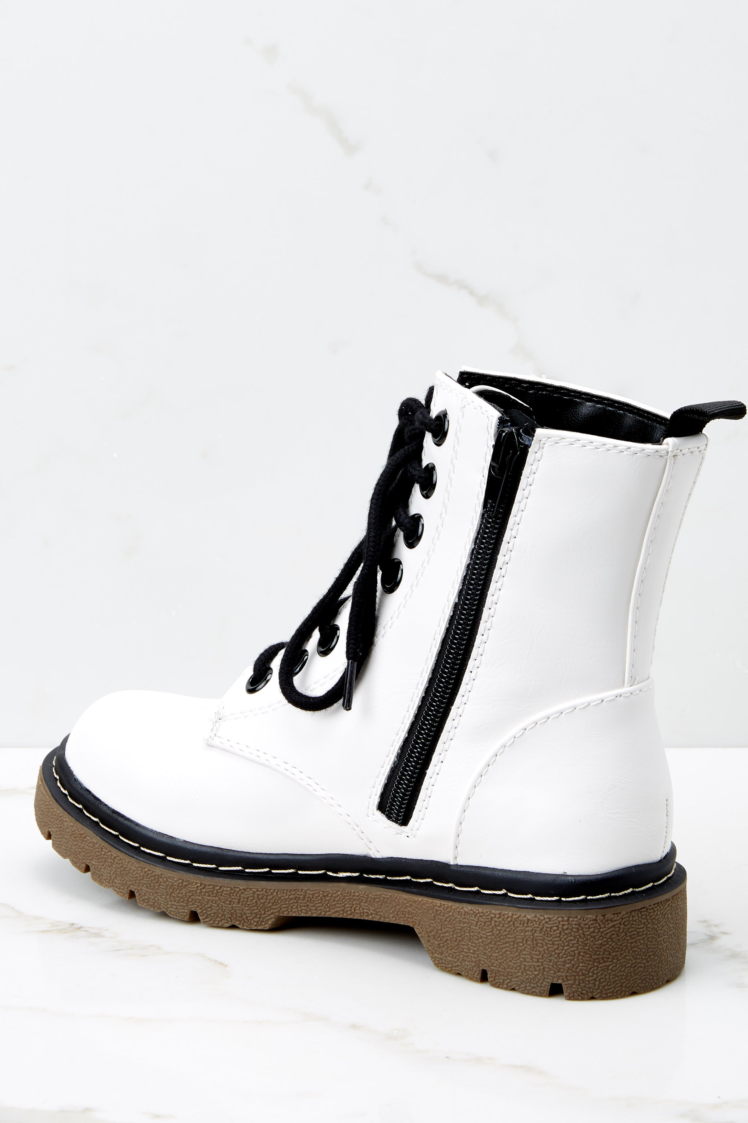 4 About A Girl White Combat Boots at reddressboutique.com