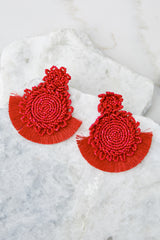3 On Replay Red Beaded Earrings at reddressboutique.com