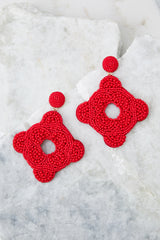 2 Having Fun Bright Red Beaded Earrings at reddress.com