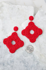 3 Having Fun Bright Red Beaded Earrings at reddress.com