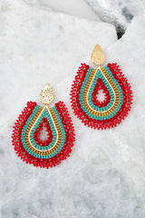 2 Whenever Wherever Red Multicolored Beaded Earrings at reddress.com