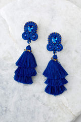 2 Want To Have Fun Blue Tassel Earrings at reddress.com