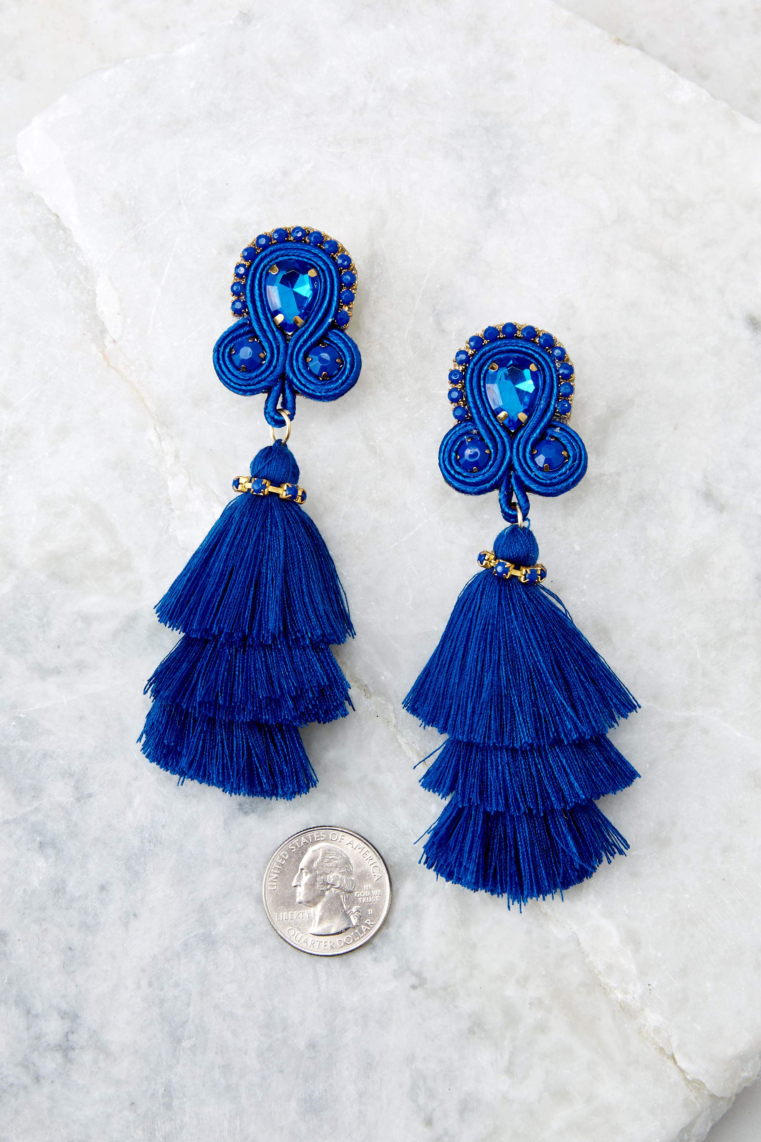 3 Want To Have Fun Blue Tassel Earrings at reddress.com