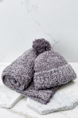 3 Barefoot Dreams CozyChic® Heathered Ash Pom Pom Beanie And Scarf Set at reddressboutique.com