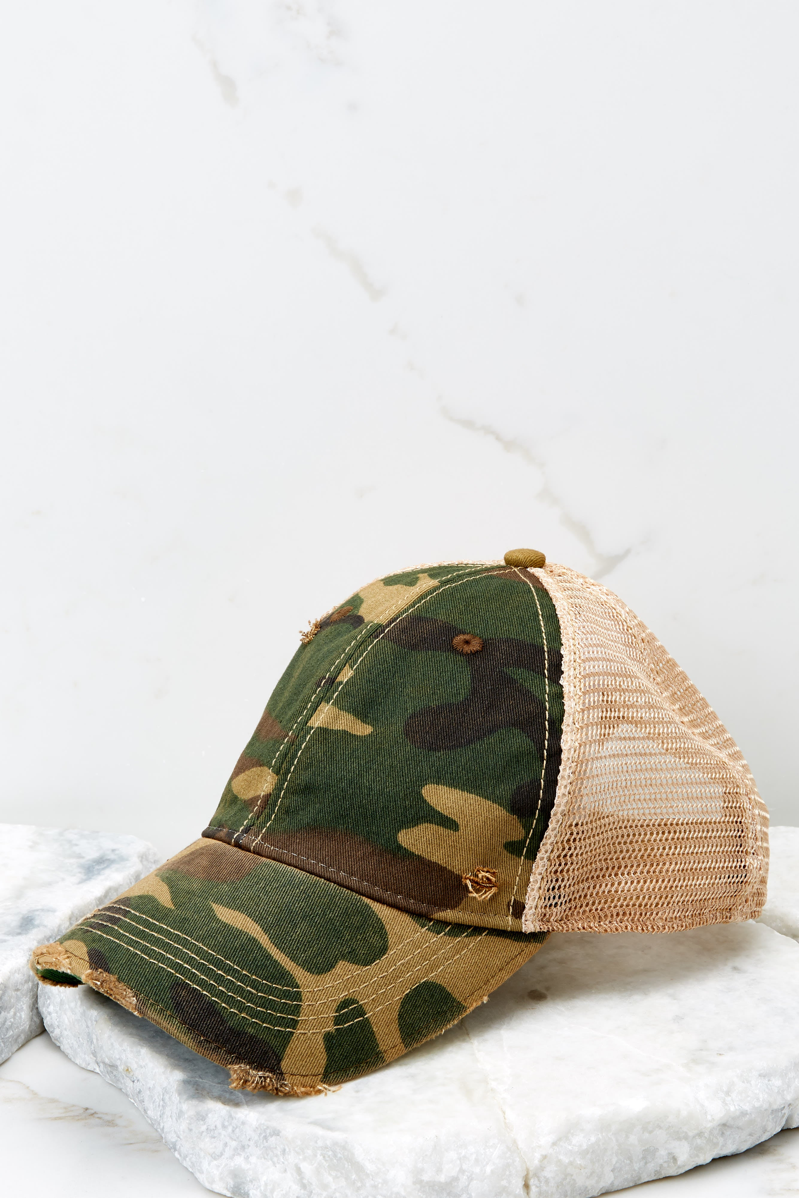 Camo Green Distressed Hat