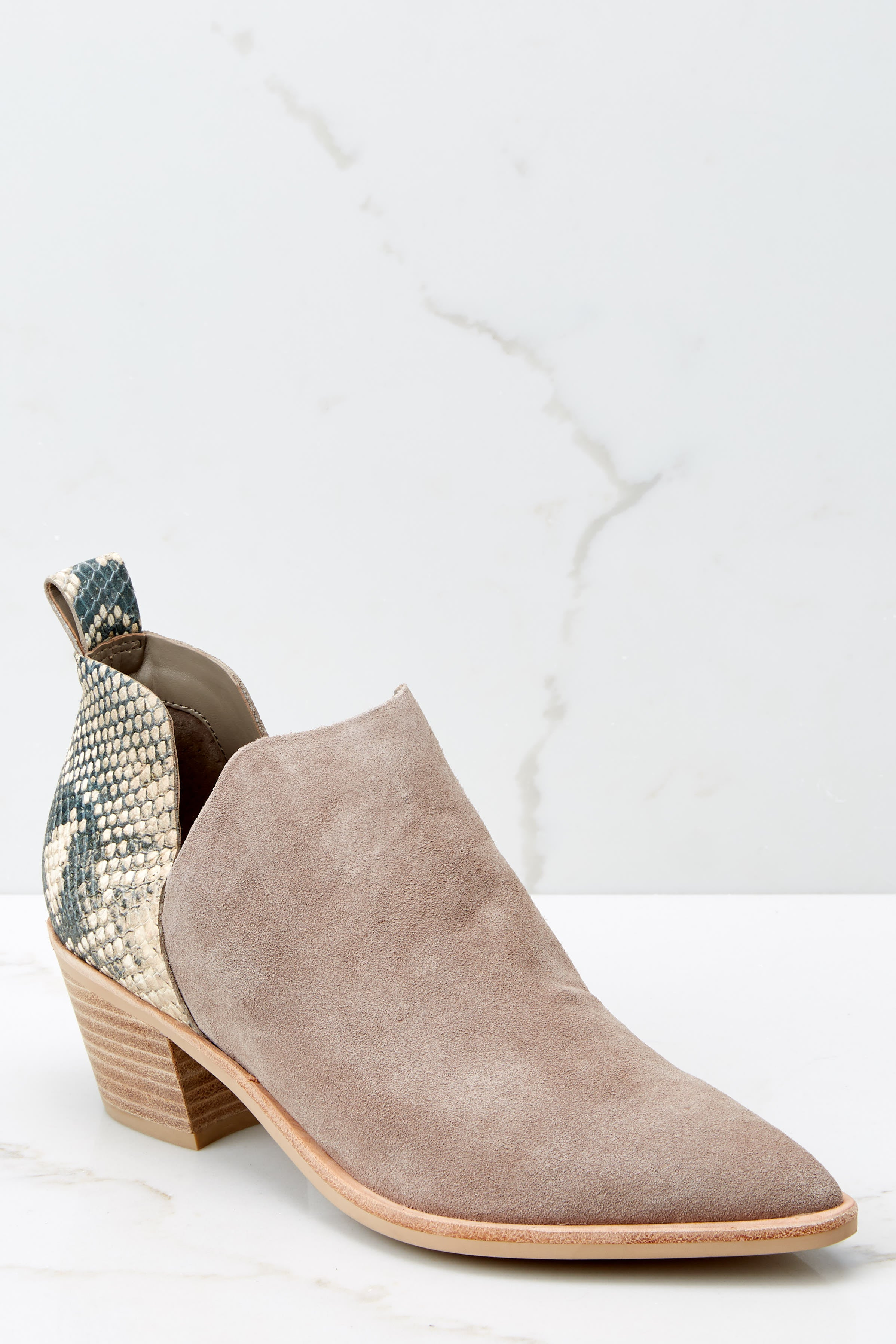 2 Sonni Taupe Snakeskin Booties at reddressboutique.com