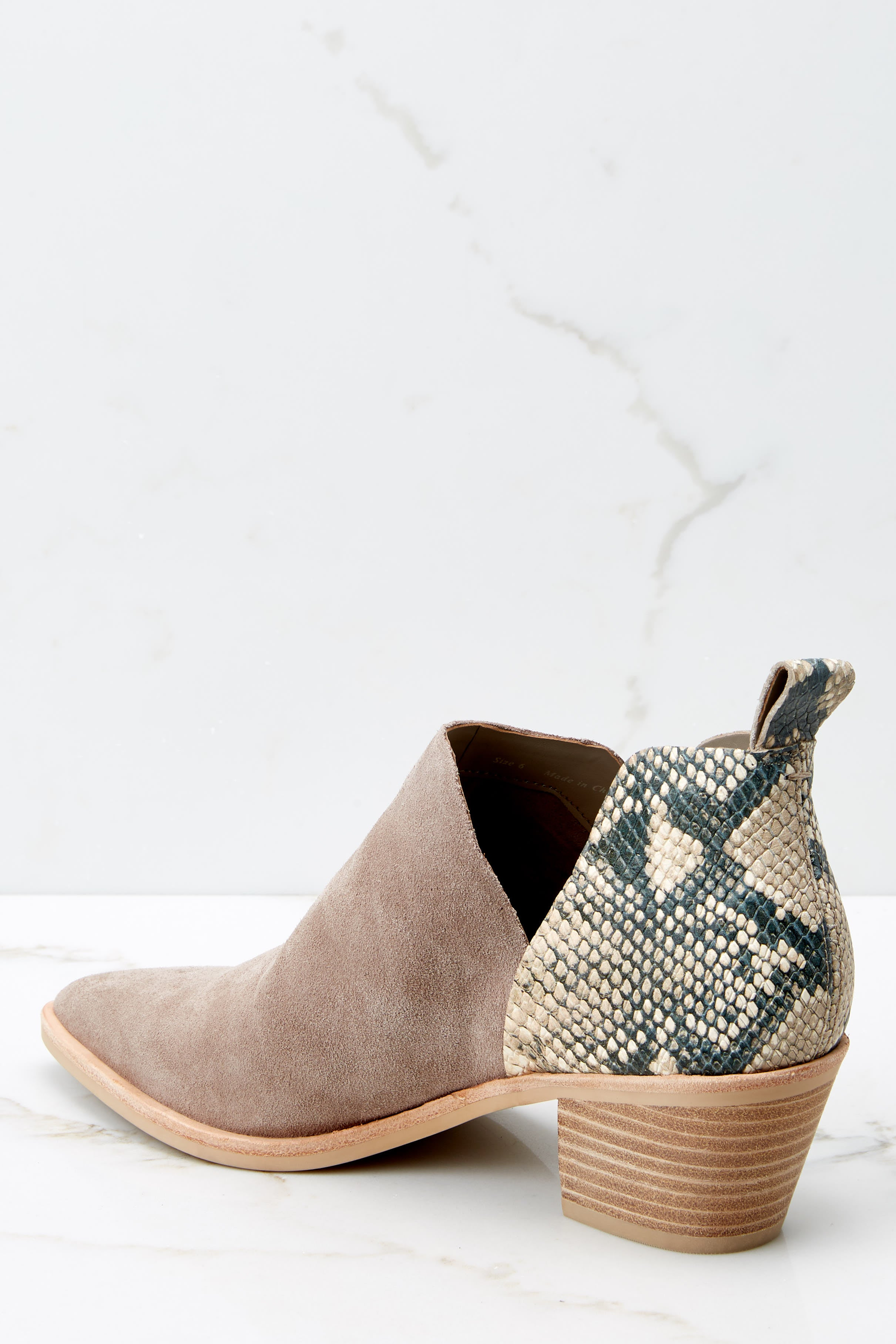 4 Sonni Taupe Snakeskin Booties at reddressboutique.com
