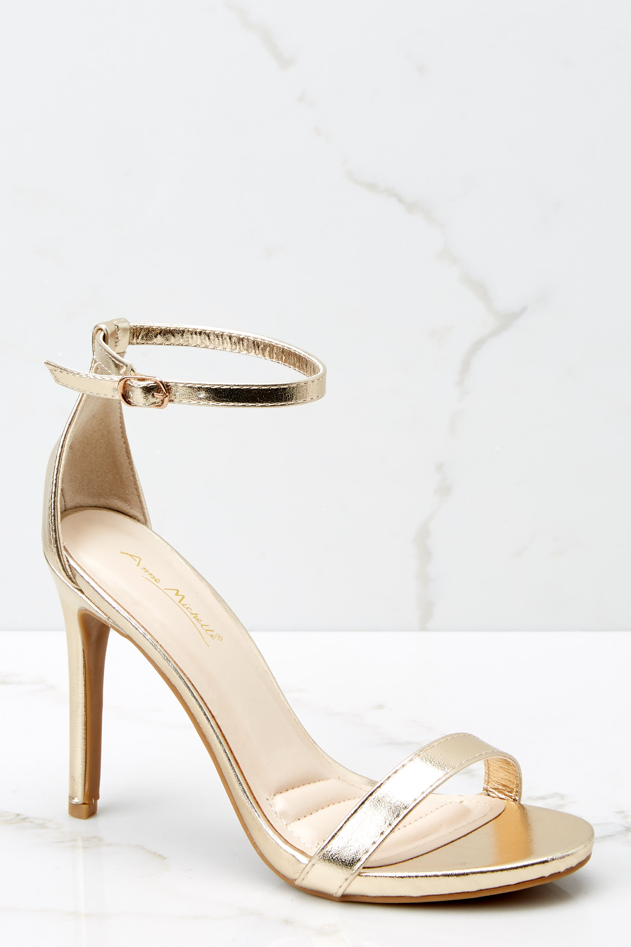 2 It's Your Moment Gold Ankle Strap Heels at reddress.com