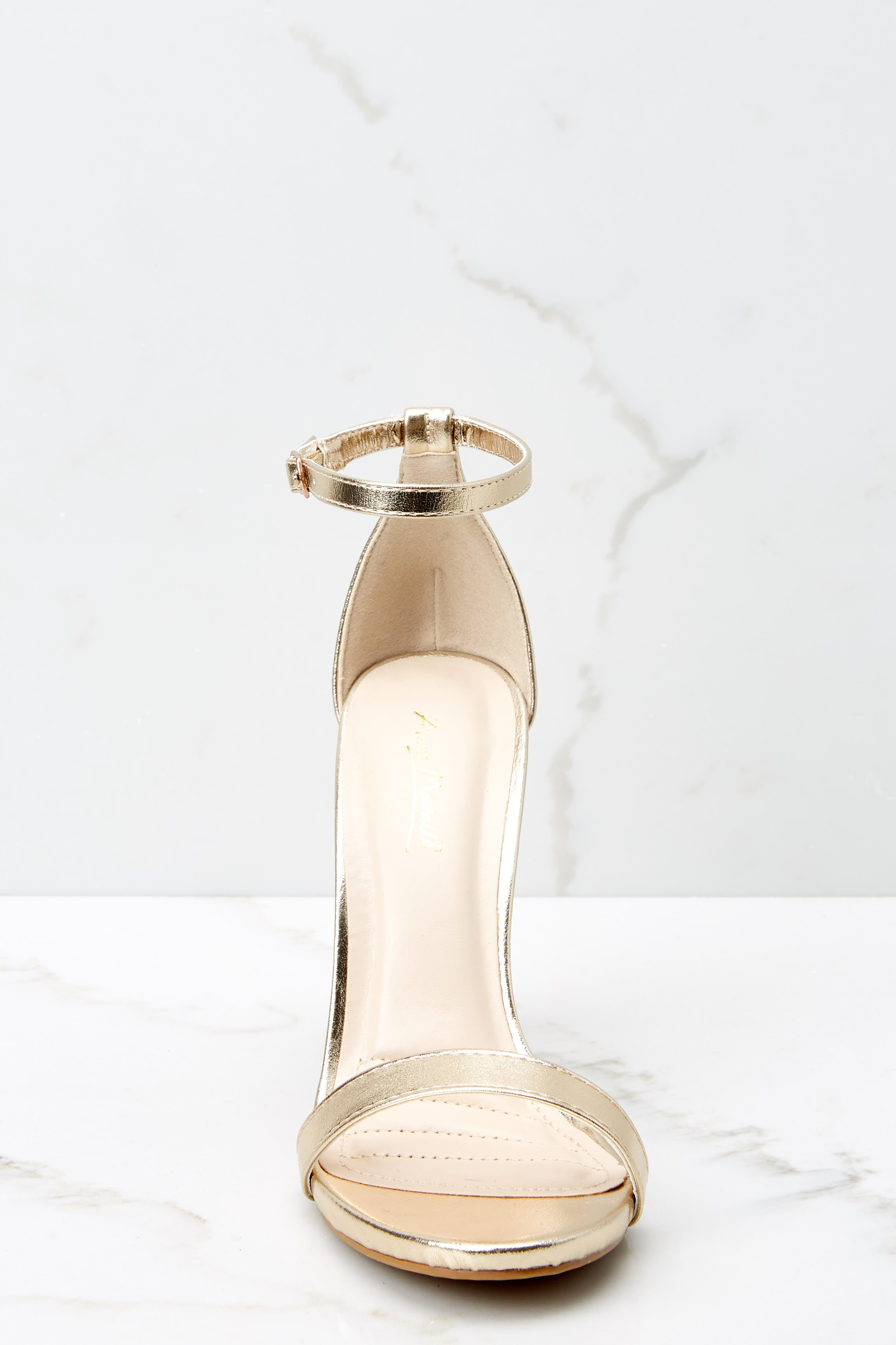 3 It's Your Moment Gold Ankle Strap Heels at reddress.com