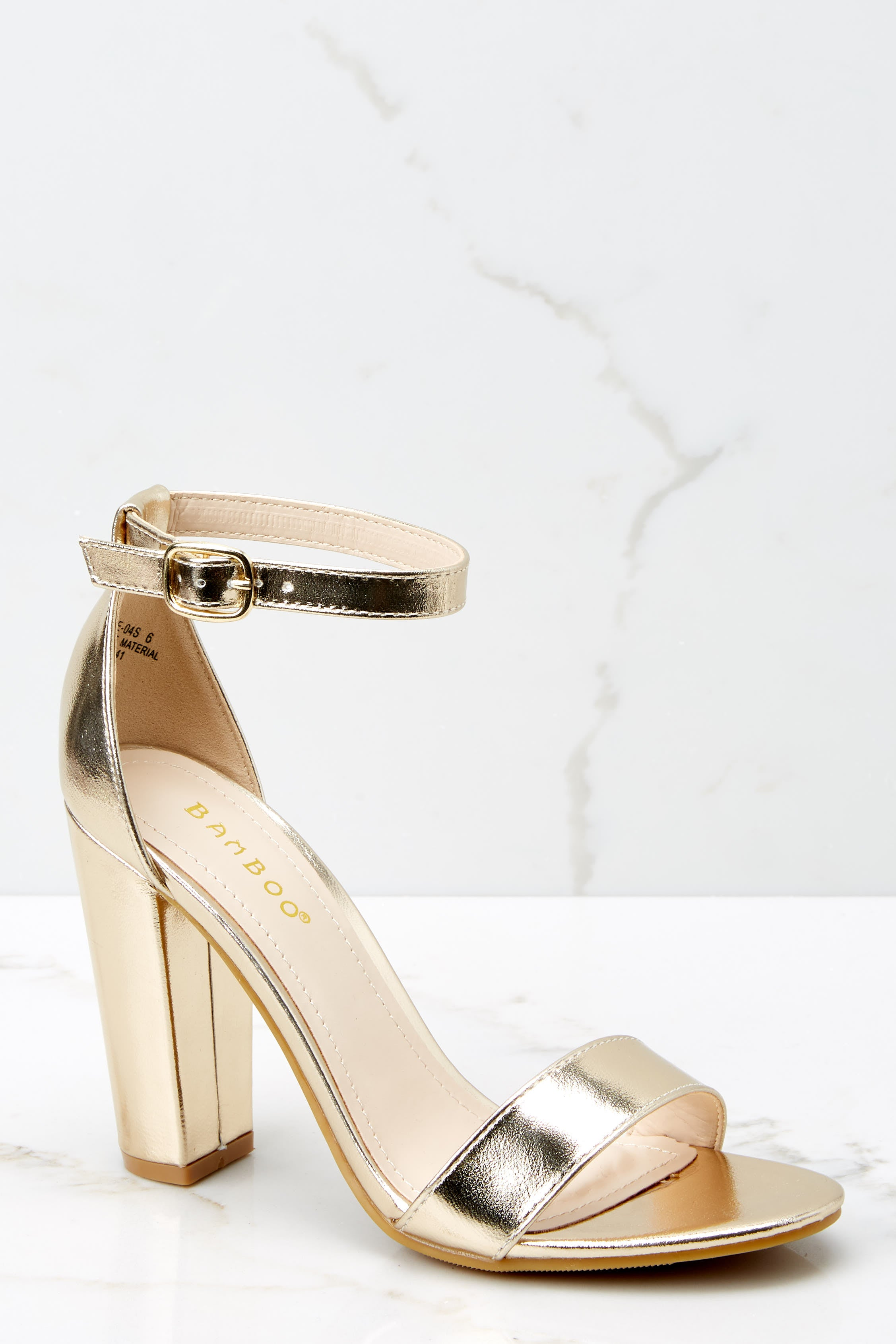 2 Plans To Dance Gold Ankle Strap Heels at reddressboutique.com