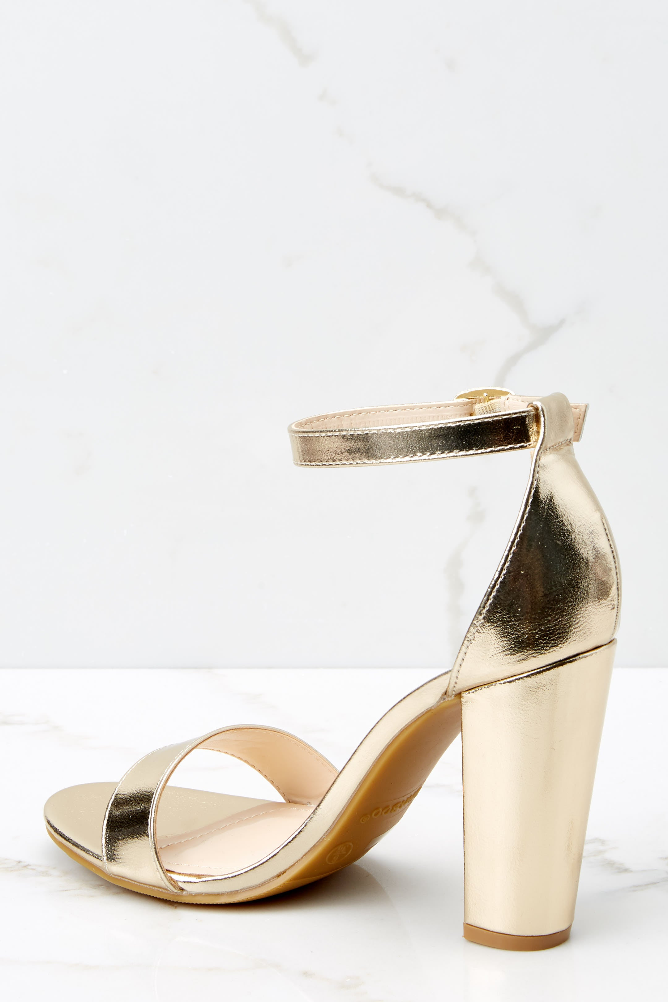 4 Plans To Dance Gold Ankle Strap Heels at reddressboutique.com