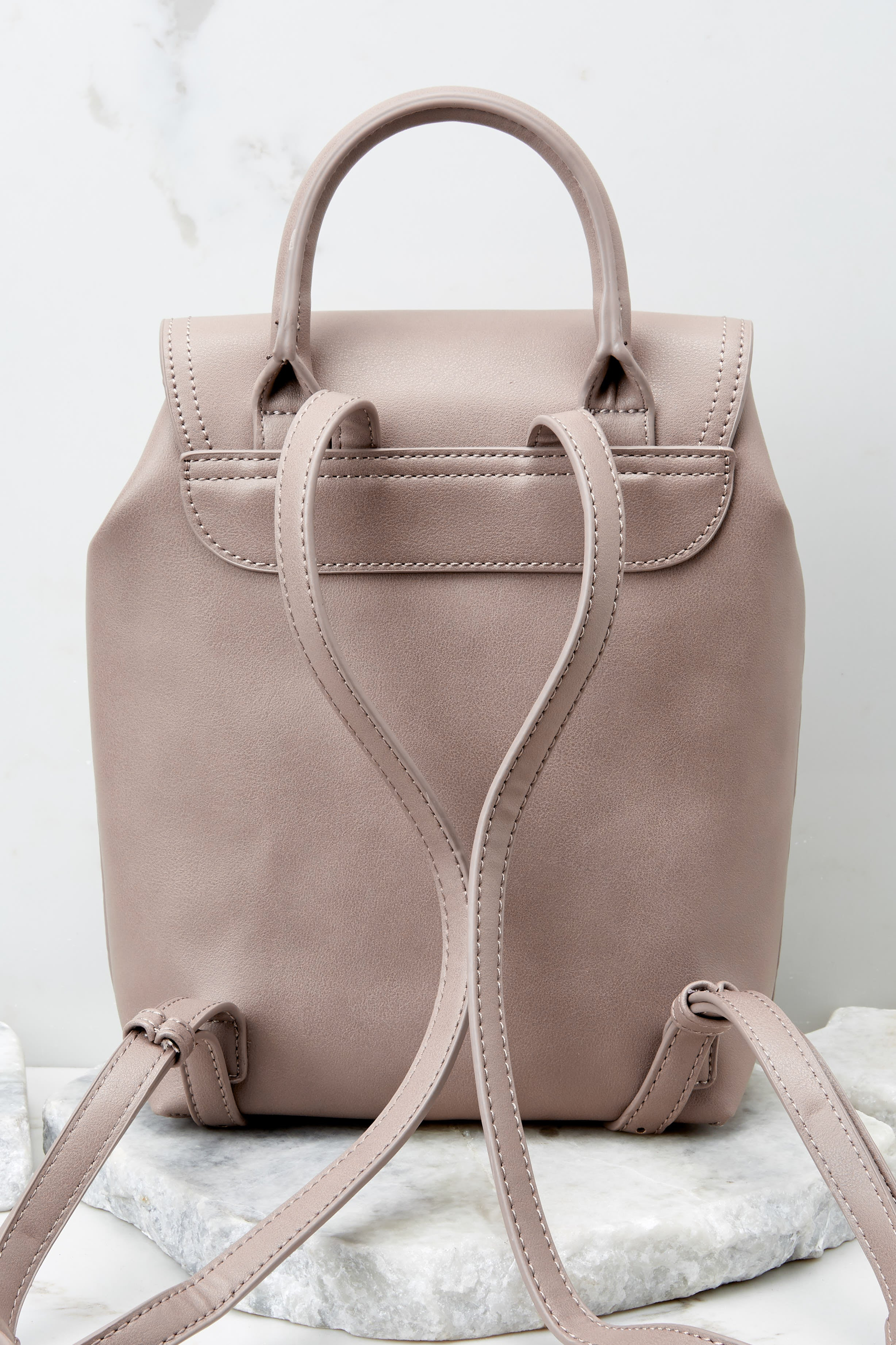 Always Leading Taupe Snakeskin Backpack
