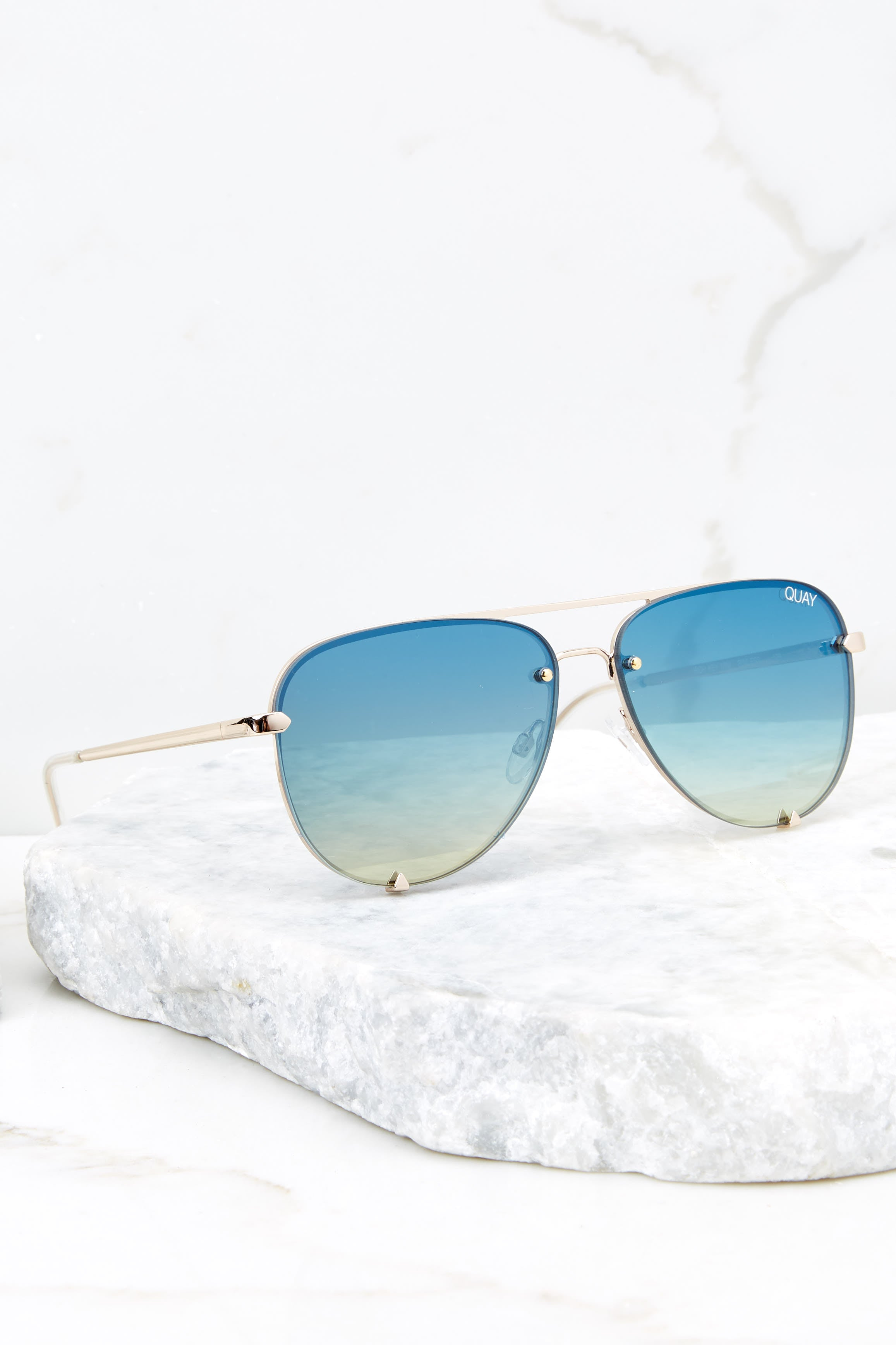 2 High Key Mini Rimless Gold Blue Sunglasses at reddress.com