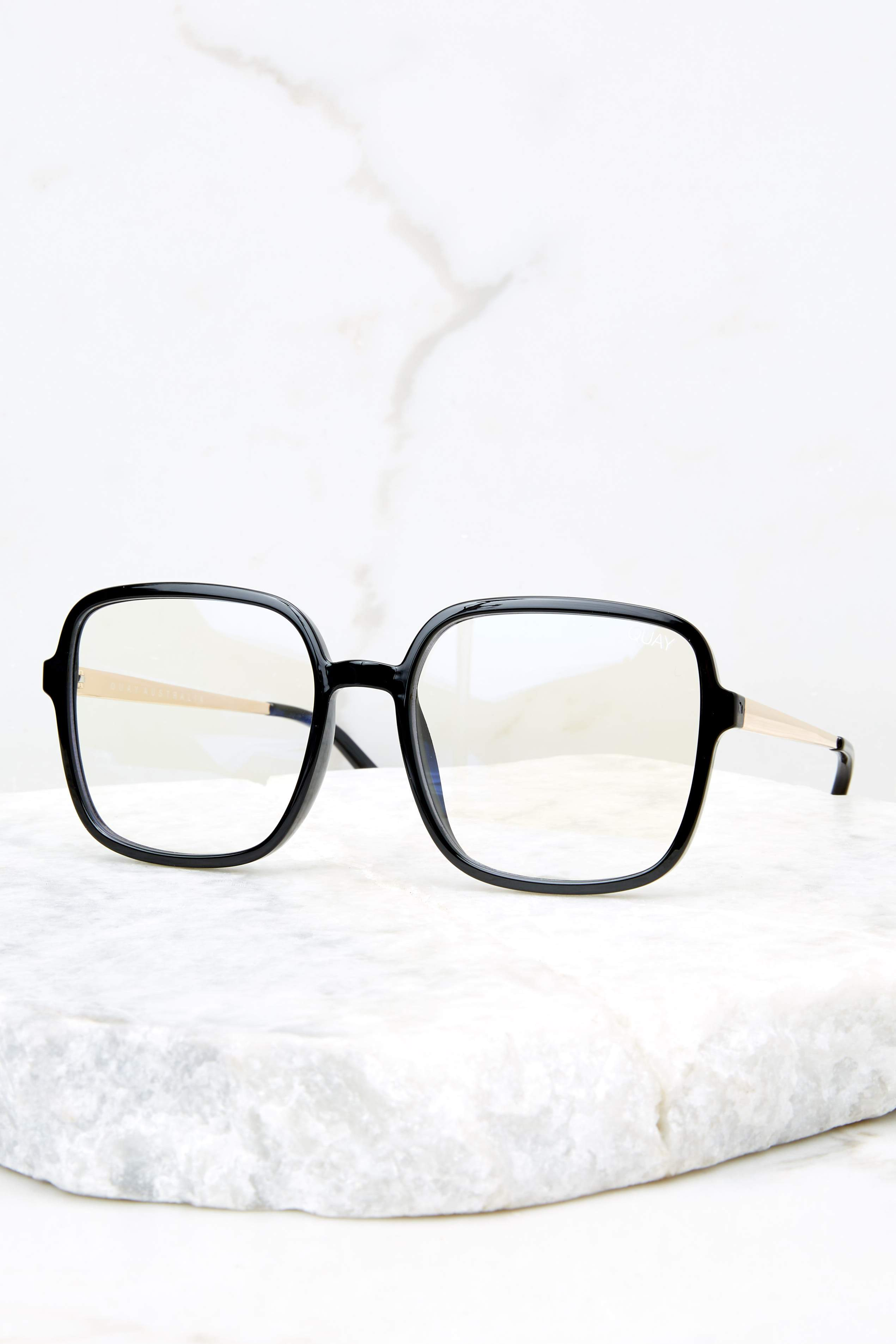 4 9 To 5 Black Clear Blue Light Glasses at reddressboutique.com