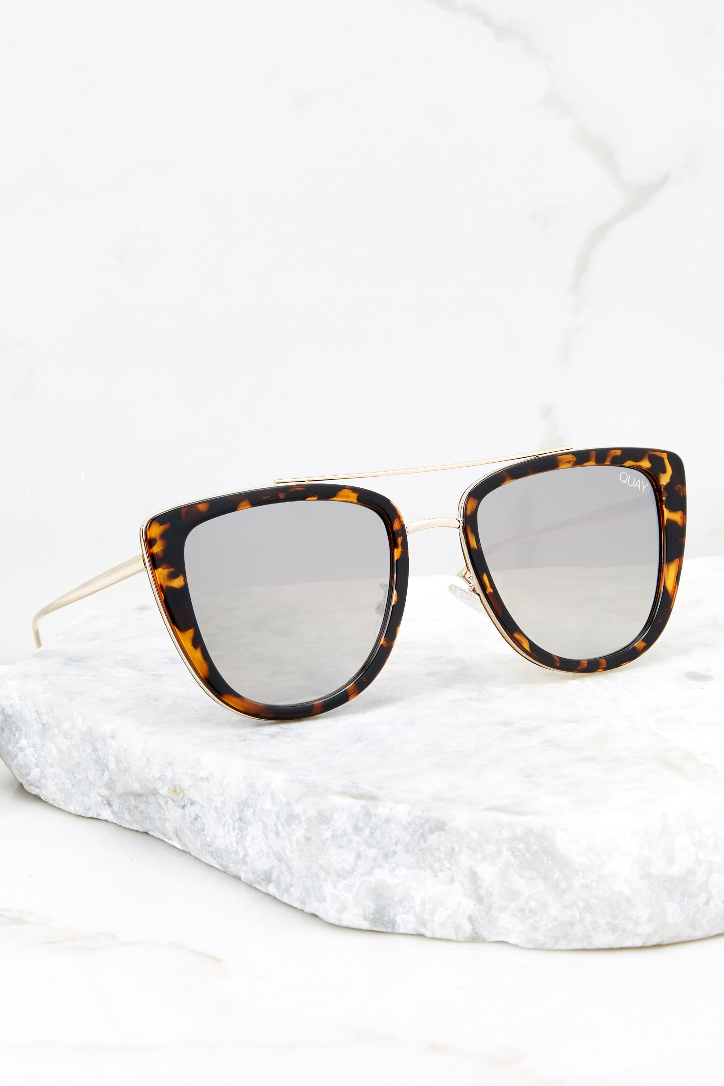 2 French Kiss Tortoise Gold Mirror Sunglasses at reddress.com