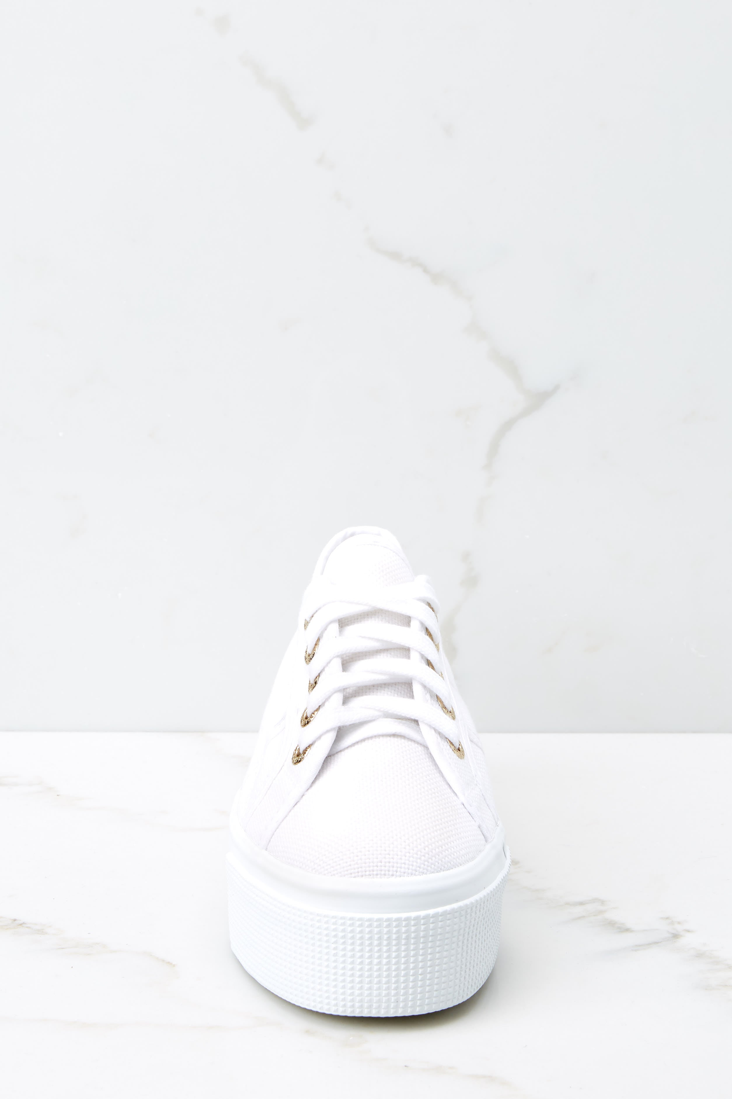 3 2790 Acot White And Gold Platform Sneakers at reddress.com