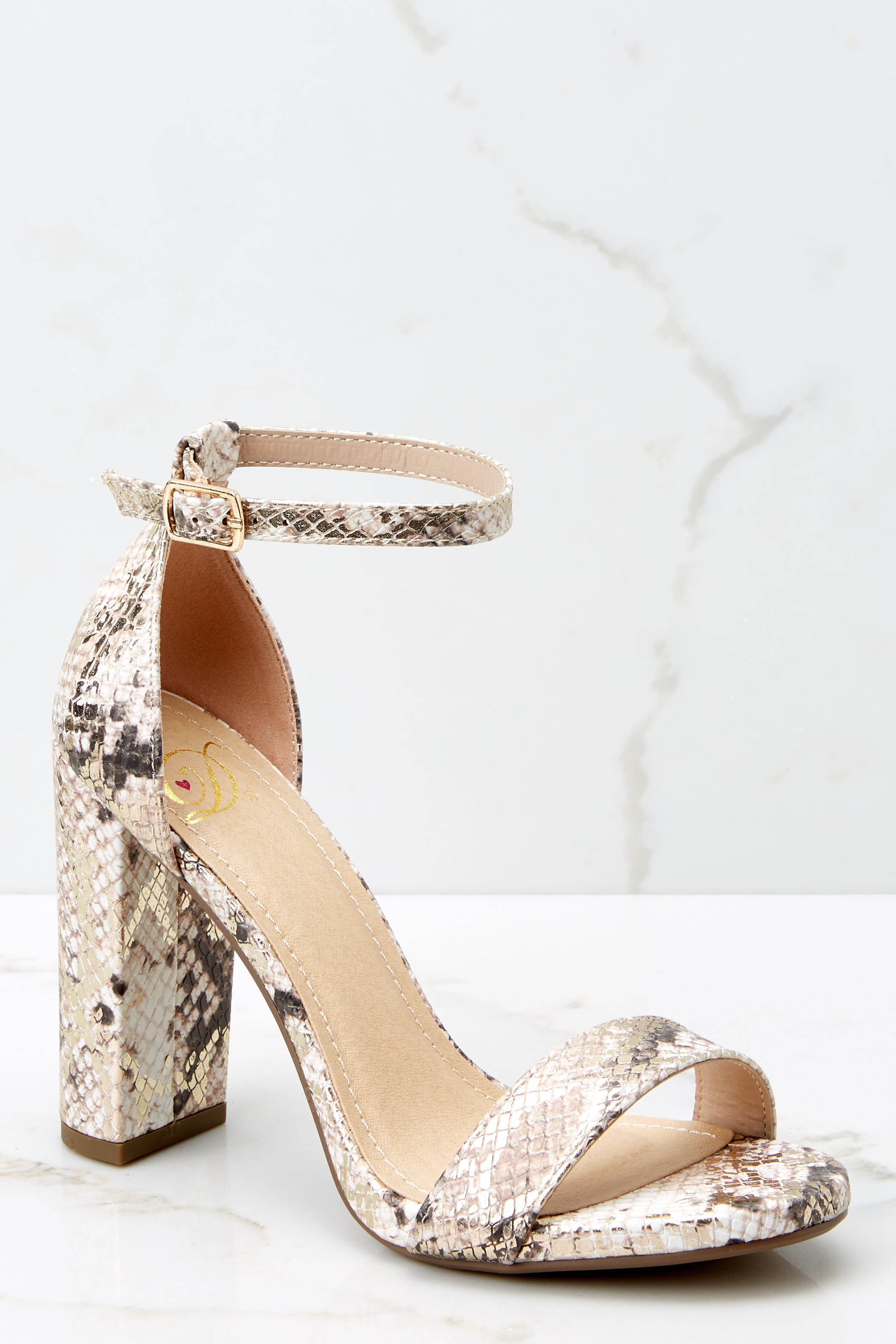 1 Never Grow Up Beige Snakeskin Ankle Strap Heels at reddressboutique.com