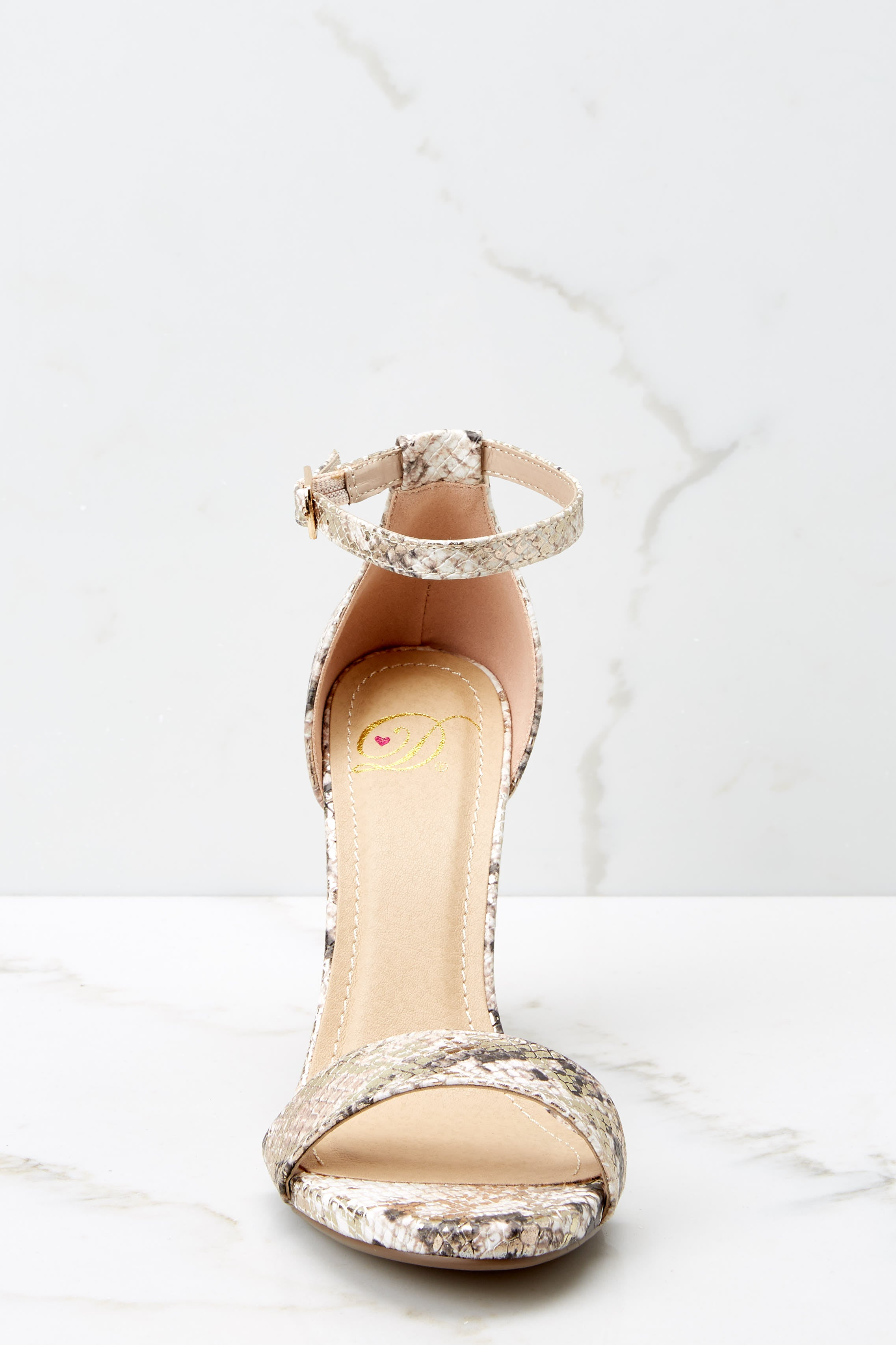 2 Never Grow Up Beige Snakeskin Ankle Strap Heels at reddressboutique.com