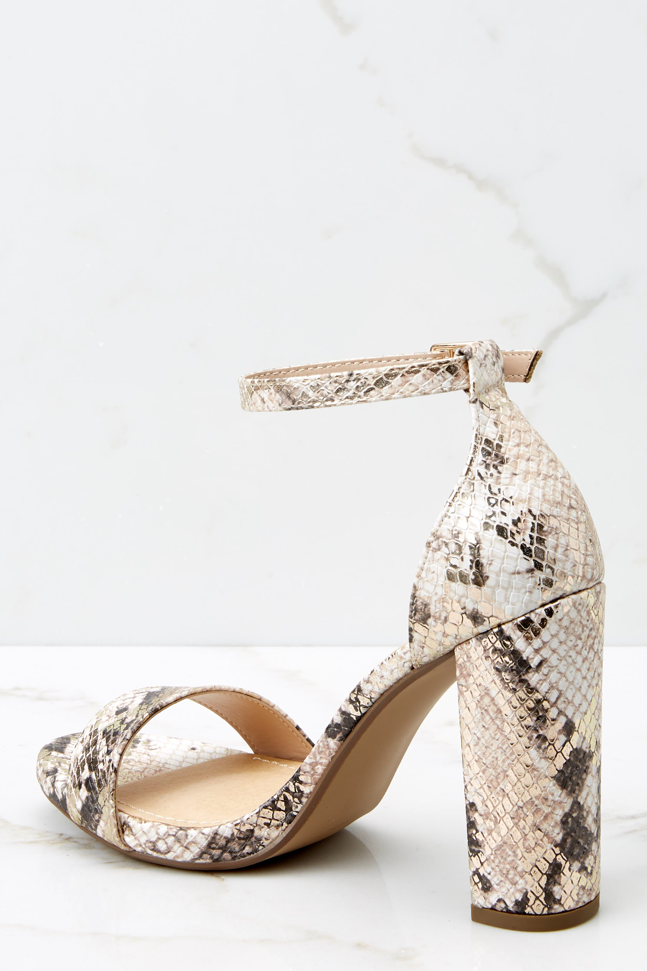 3 Never Grow Up Beige Snakeskin Ankle Strap Heels at reddressboutique.com