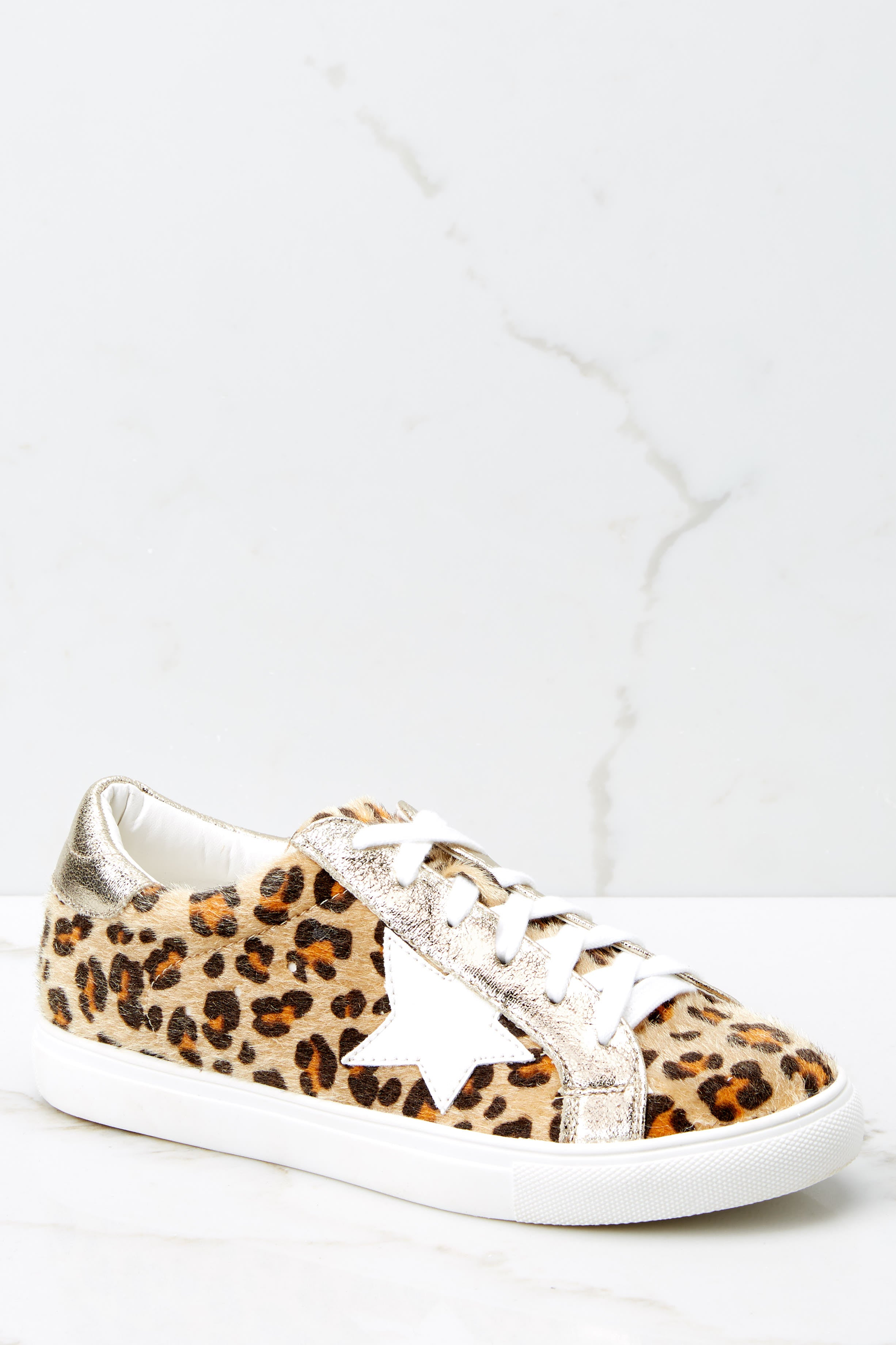 1 Getting Better Gold Leopard Print Sneakers at reddress.com