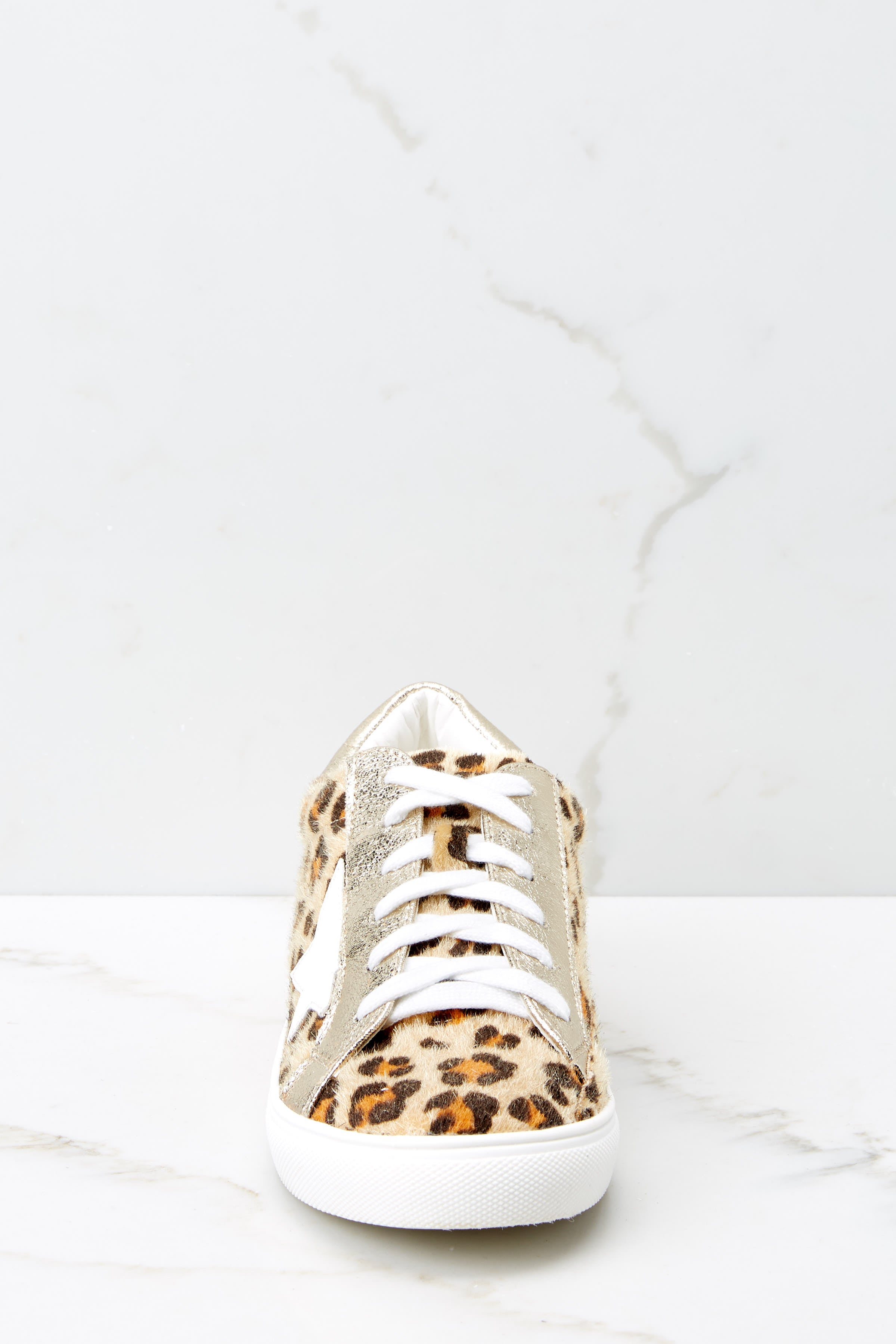 2 Getting Better Gold Leopard Print Sneakers at reddress.com