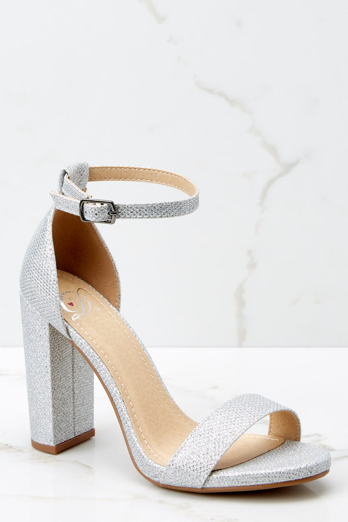 2 Never Grow Up Silver Sparkle Ankle Strap Heels at reddressboutique.com